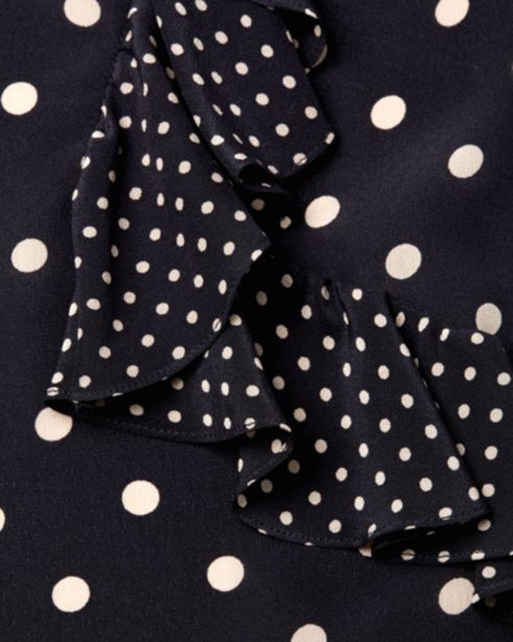 295dc824de00 Lyst - Rebecca Taylor Navy Long Sleeve Polka Dot Ruffle Top in Blue