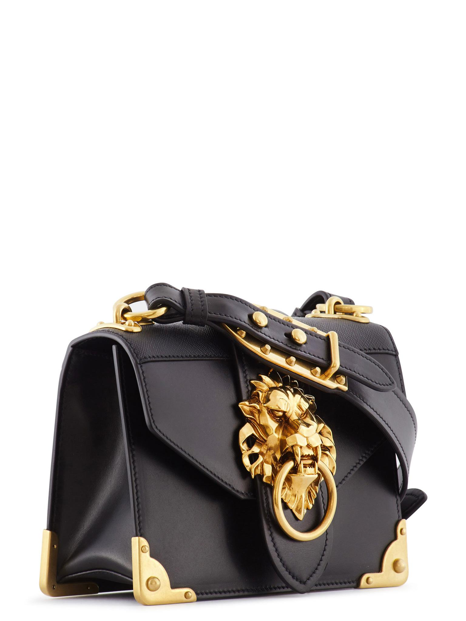 606342be3138 Prada Cahier Lion Head Leather Bag in Black - Lyst