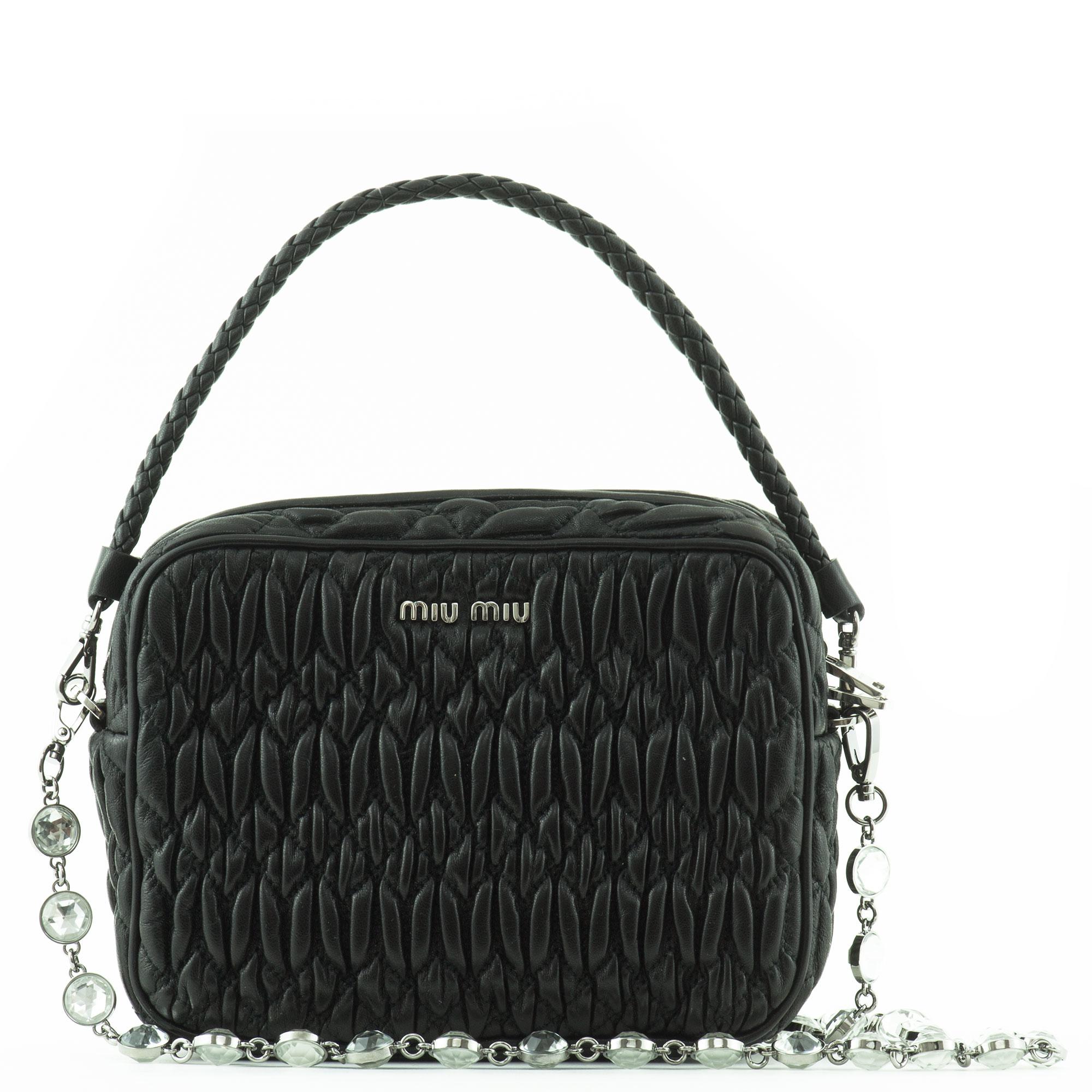Miu Embellished Leather Shoulder Bag In Black Lyst