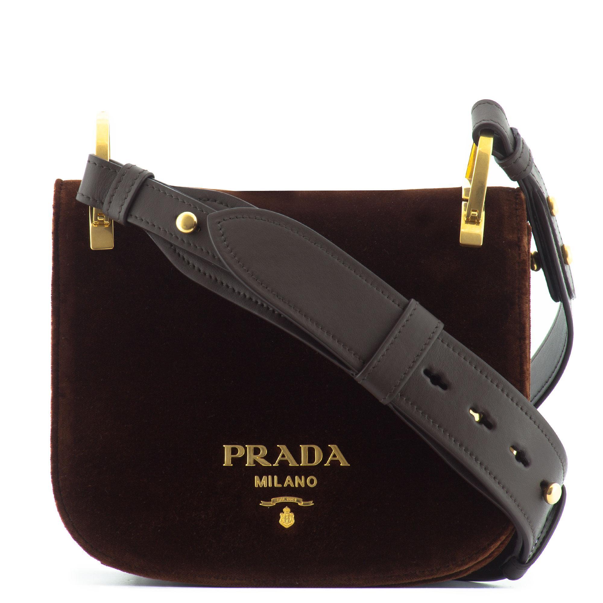 cf669118c83b Prada Pionnière Velvet Shoulder Bag in Red - Lyst