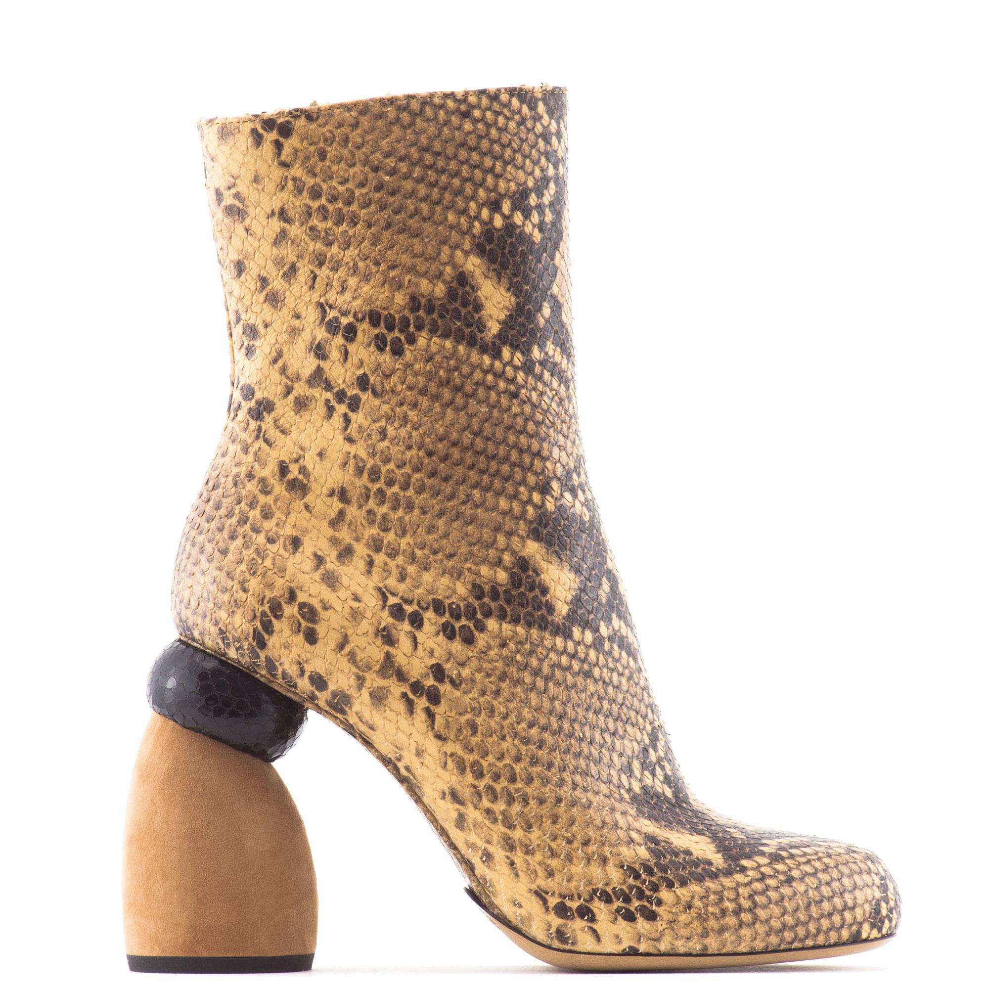 20dbd6eaac8540 Dries Van Noten 110mm Sculpted Heel Printed Python Boots in Natural ...