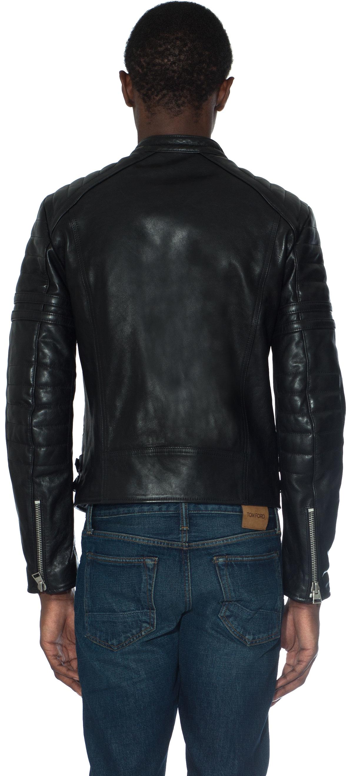 tom ford leather biker jacket in black for men lyst. Black Bedroom Furniture Sets. Home Design Ideas