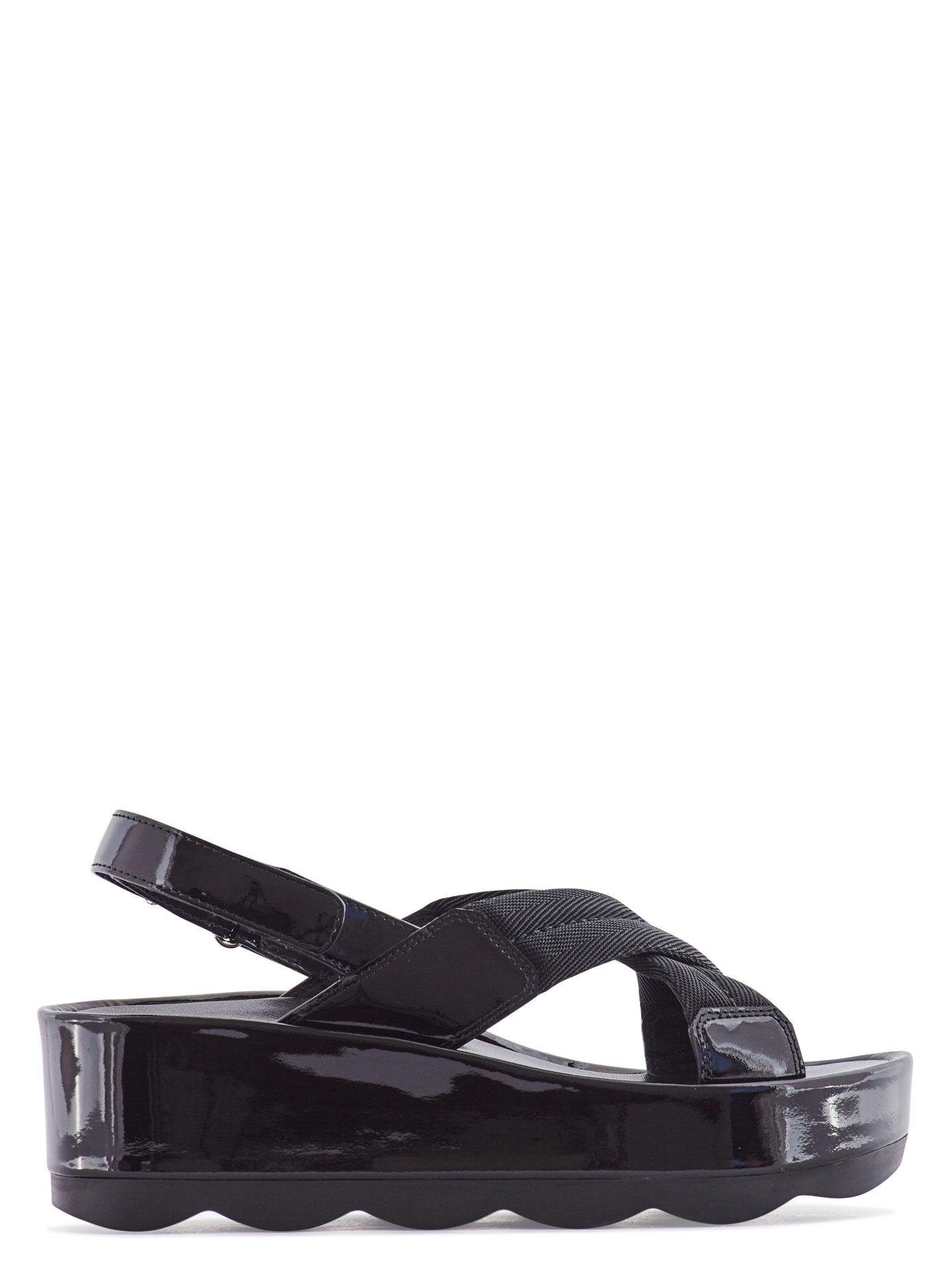 Lyst Prada Nylon And Patent Leather Crossover Sandals In