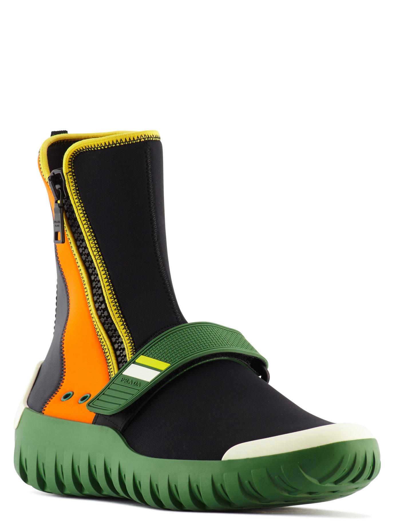Prada Two Tone Neoprene Ankle Boots For Men Lyst