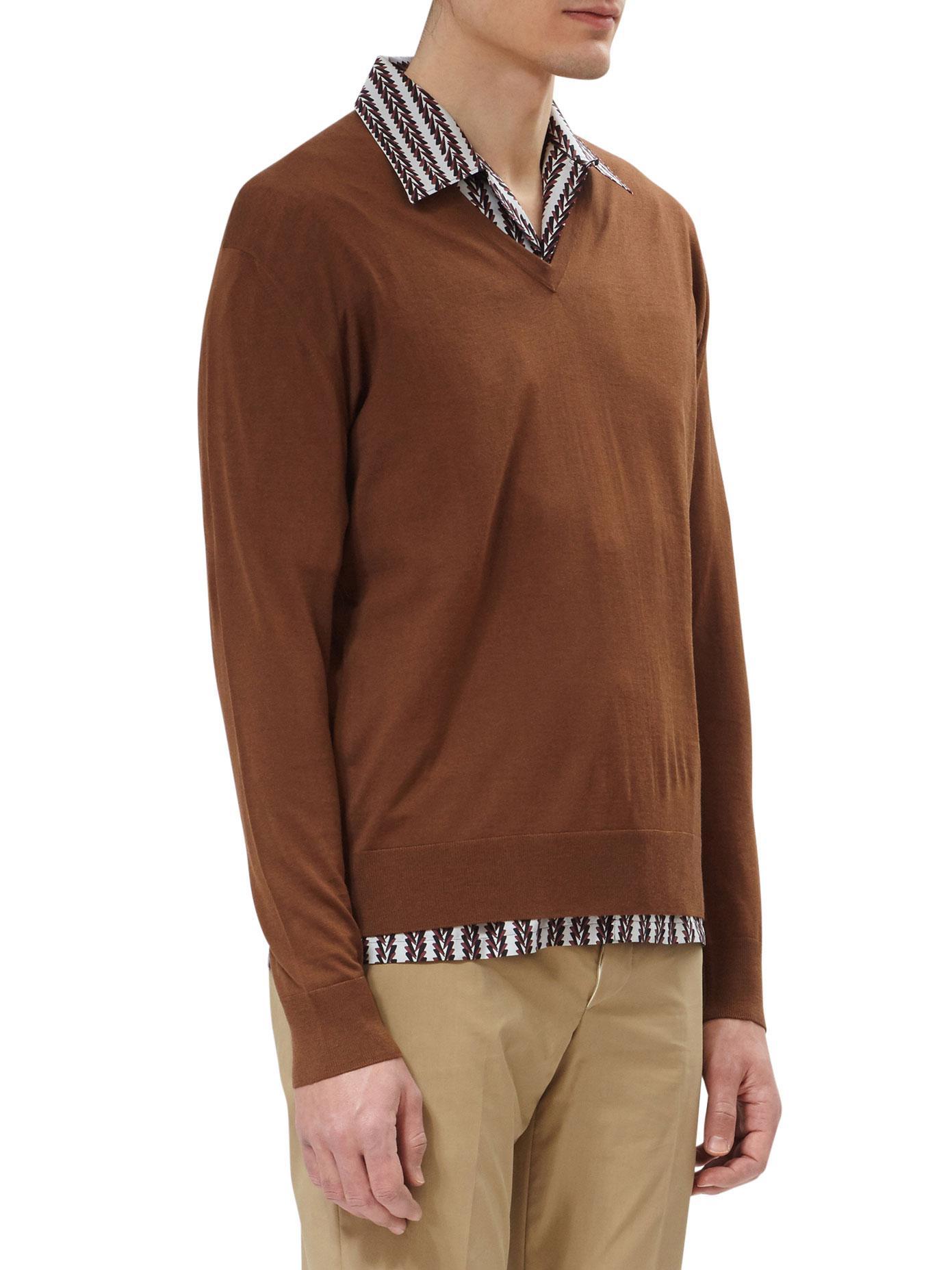 Prada V-neck Virgin Wool Knit in Brown for Men