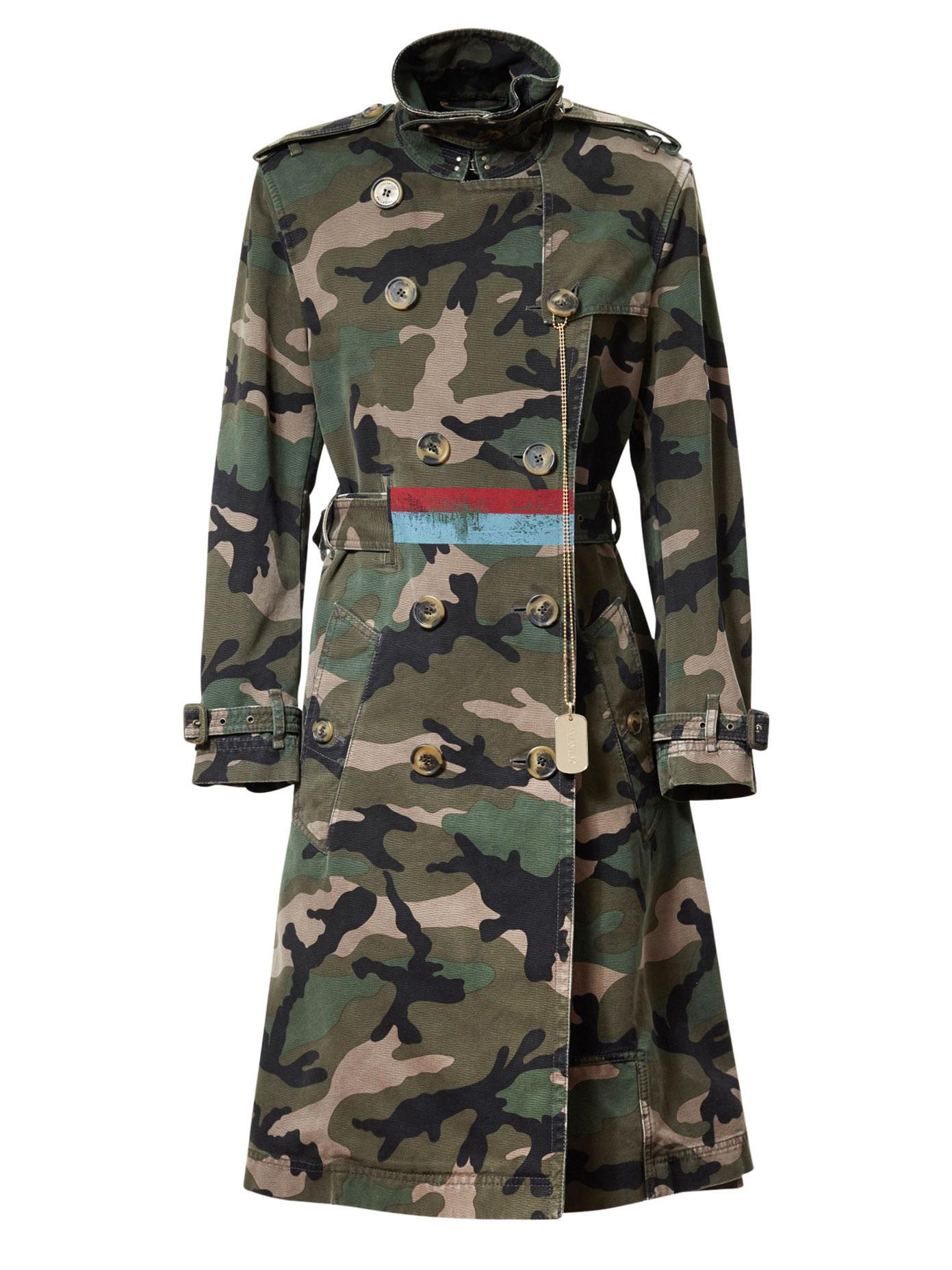 Lyst Valentino Camo Print Cotton Trench Coat In Green