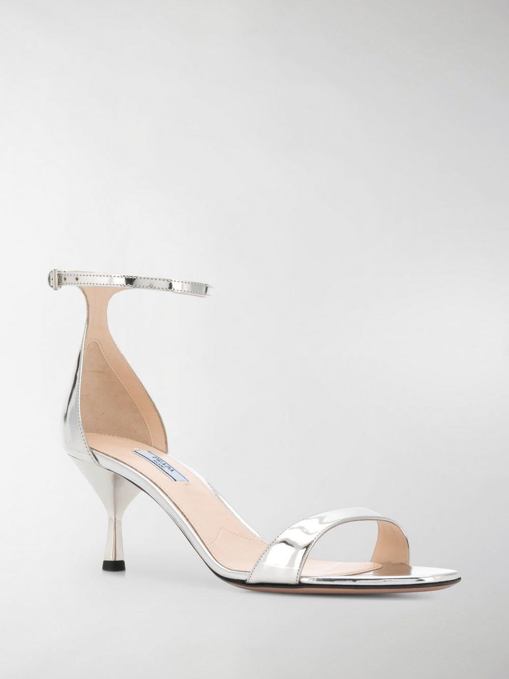 2f4de0ec335 Prada Kitten-heel Sandals in Metallic - Lyst