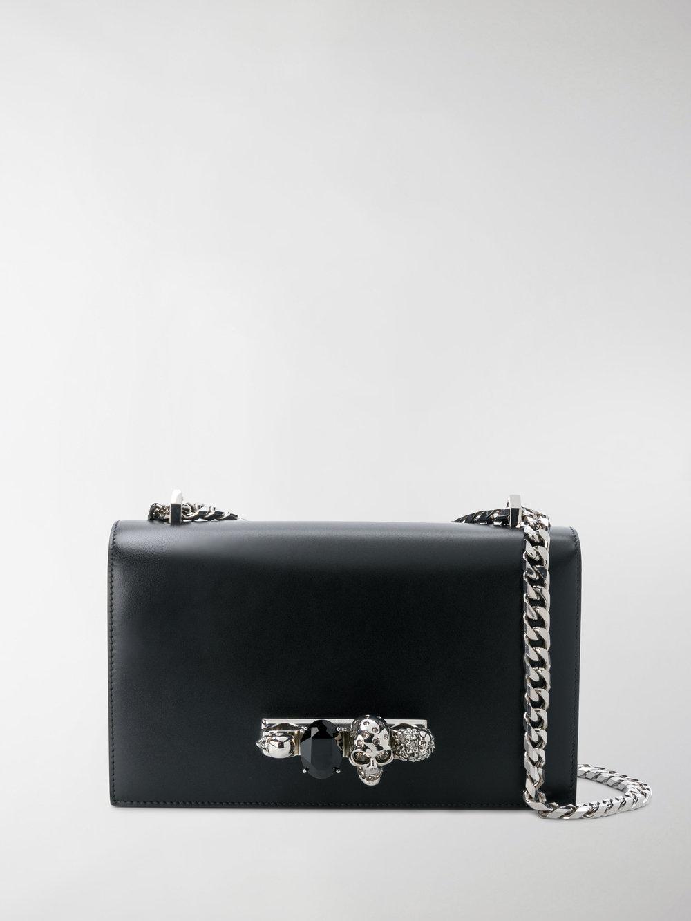 black Jewelled leather satchel bag Alexander McQueen WEnoV4
