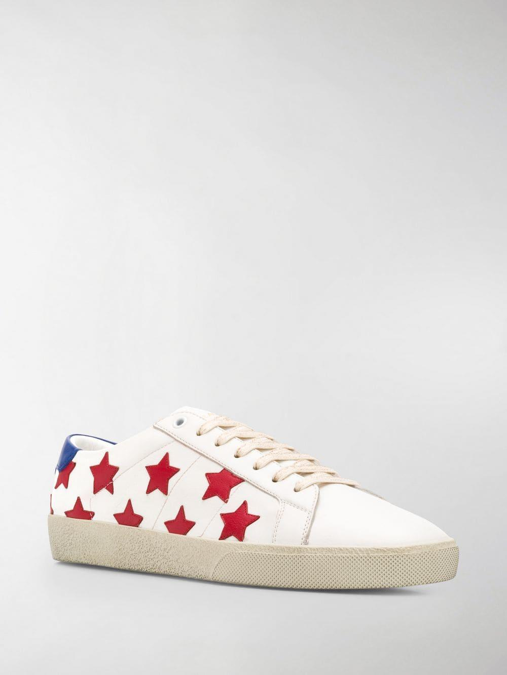 a35954a86facc Lyst - Saint Laurent White Sl06 Star Applique Leather Sneakers in White for  Men