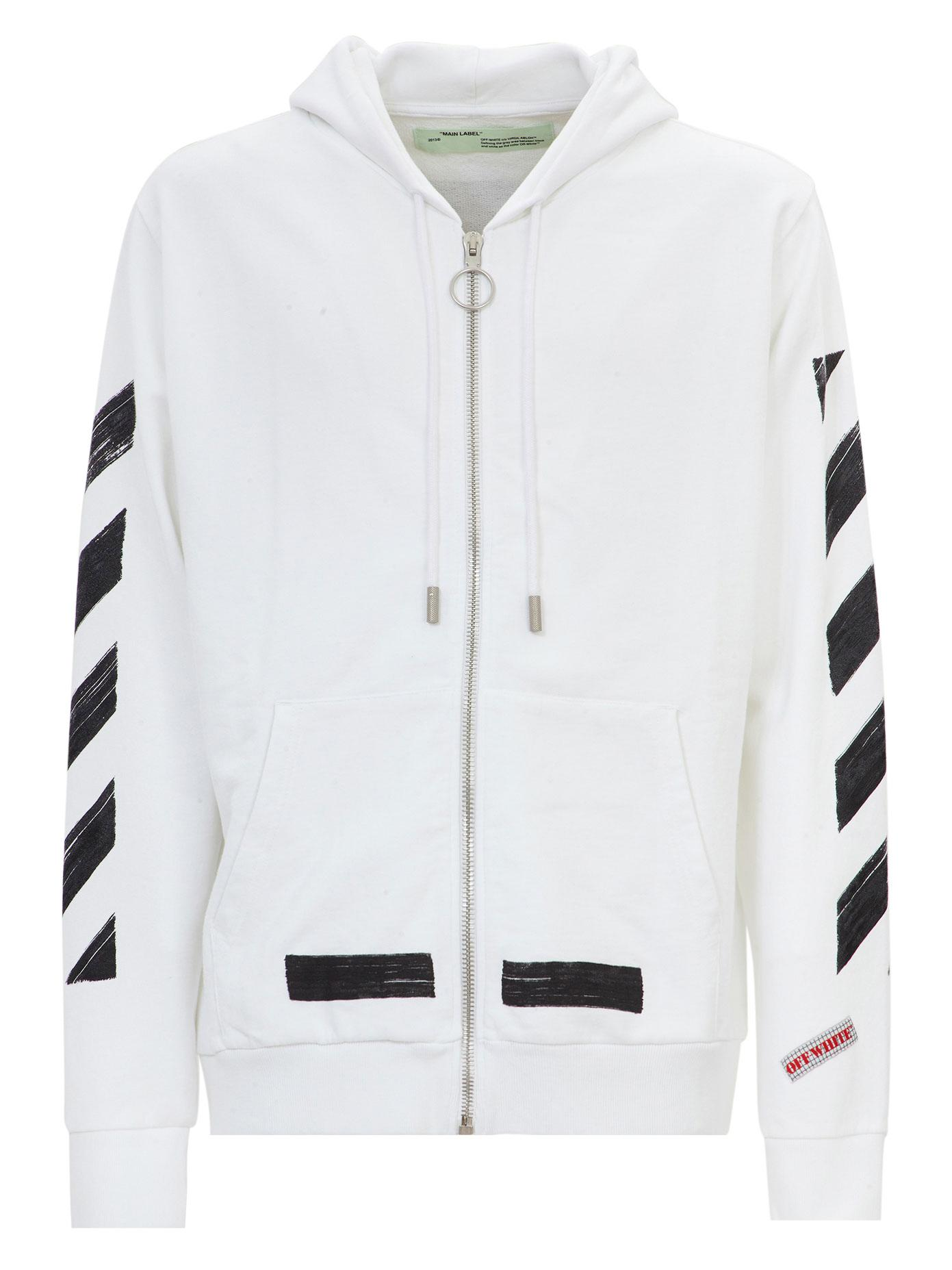 26aac5407d5f49 Off-White c/o Virgil Abloh Diag Brushed Zip Up Cotton Hoodie in ...