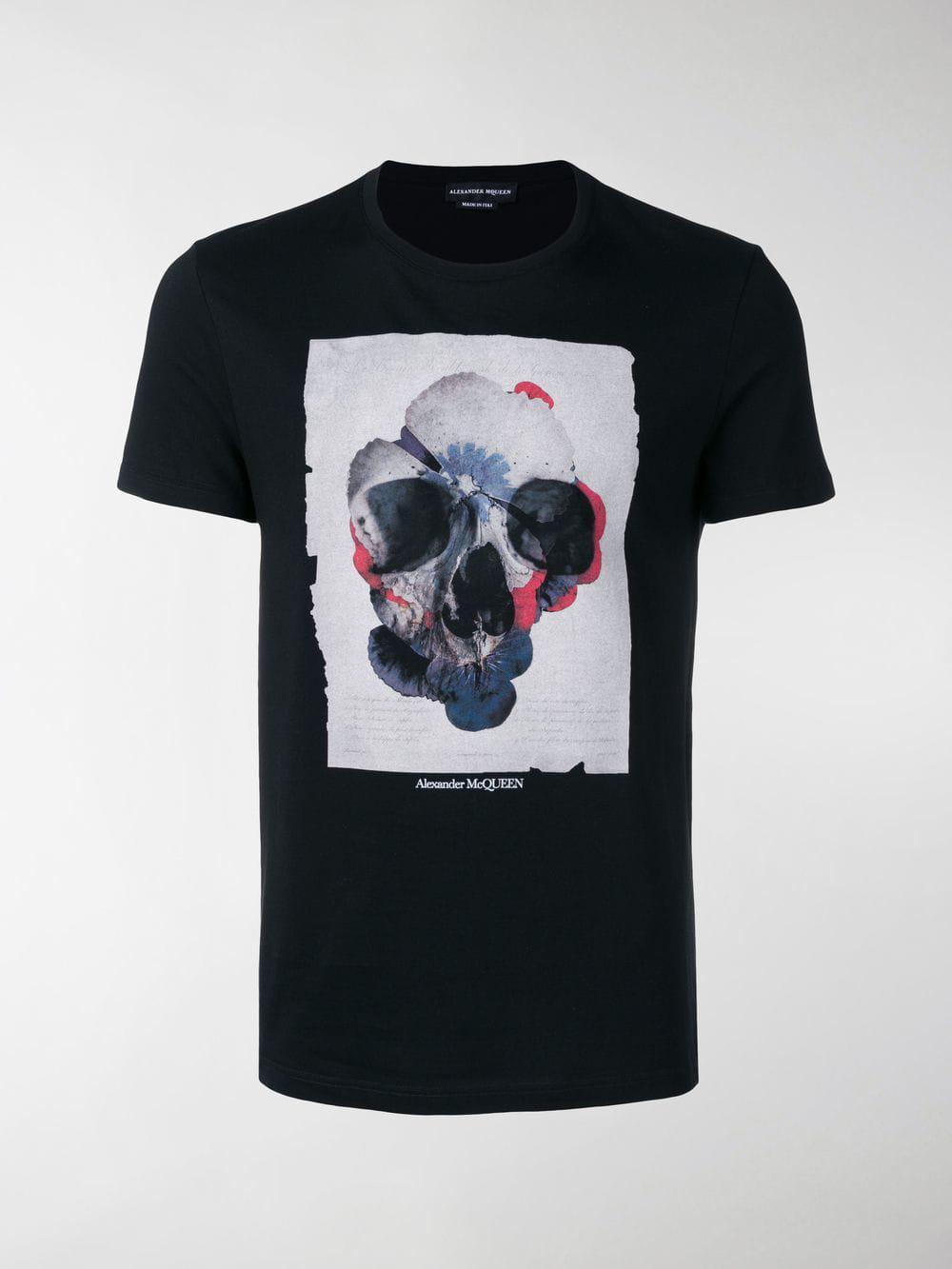 95685354 Alexander McQueen - Black Skull-print T-shirt for Men - Lyst. View  fullscreen