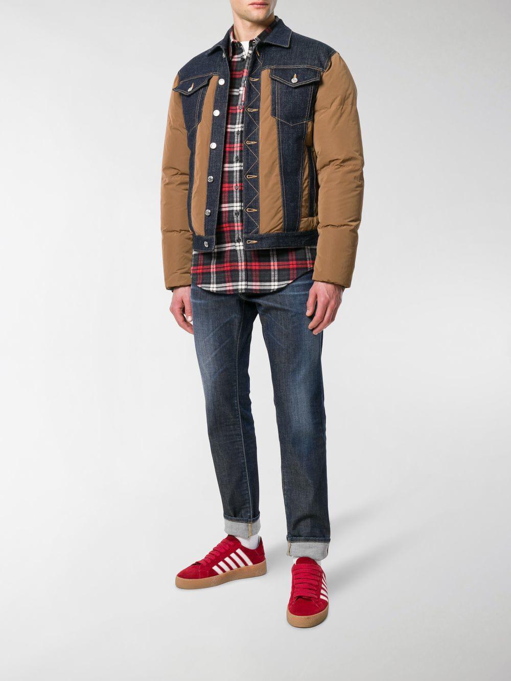 bdf51ed7ea0eaa DSquared² - Brown Padded Denim Jacket for Men - Lyst. View fullscreen