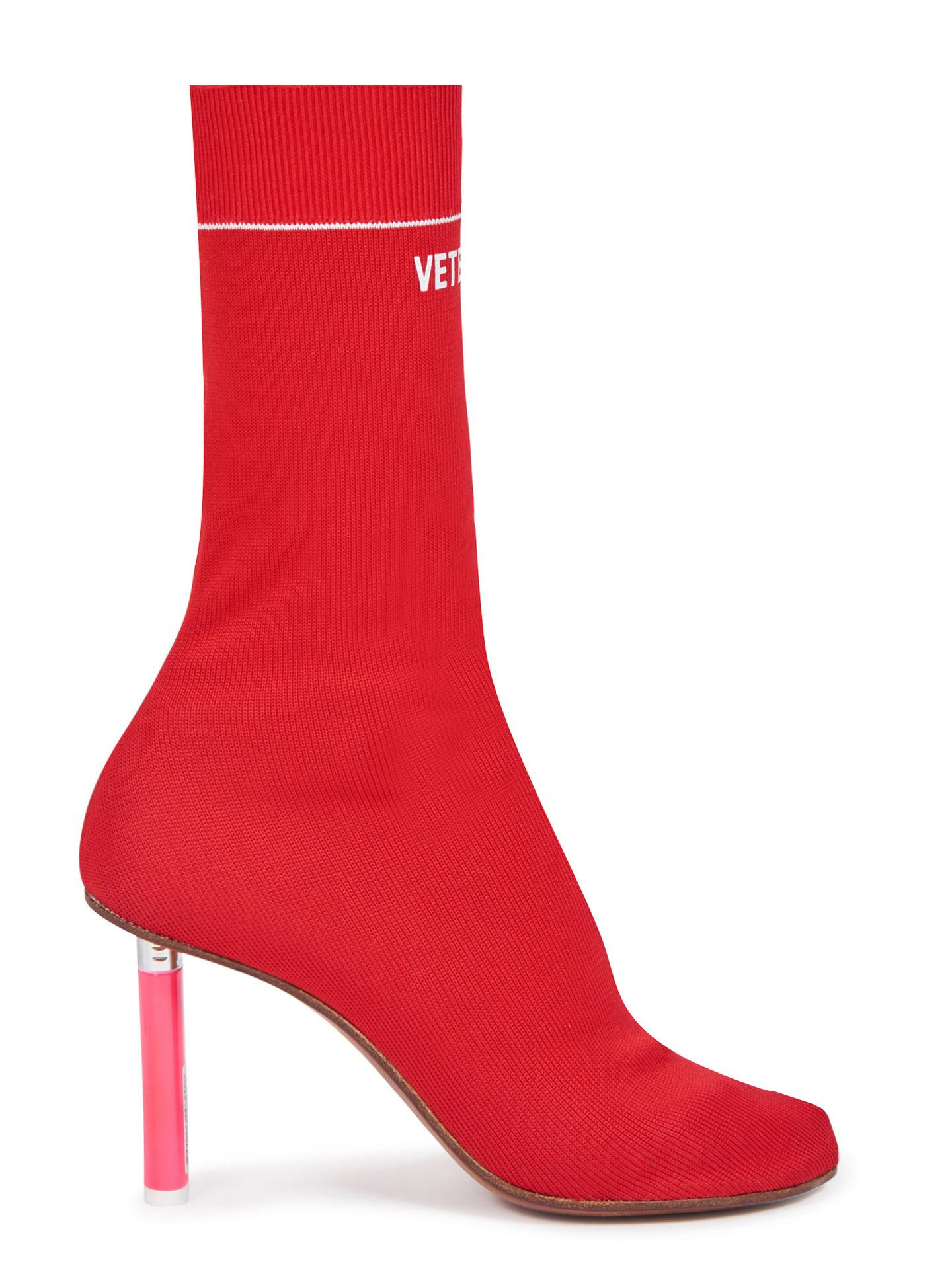 Lyst Vetements Lighter Heel Sock Ankle Boots In Red