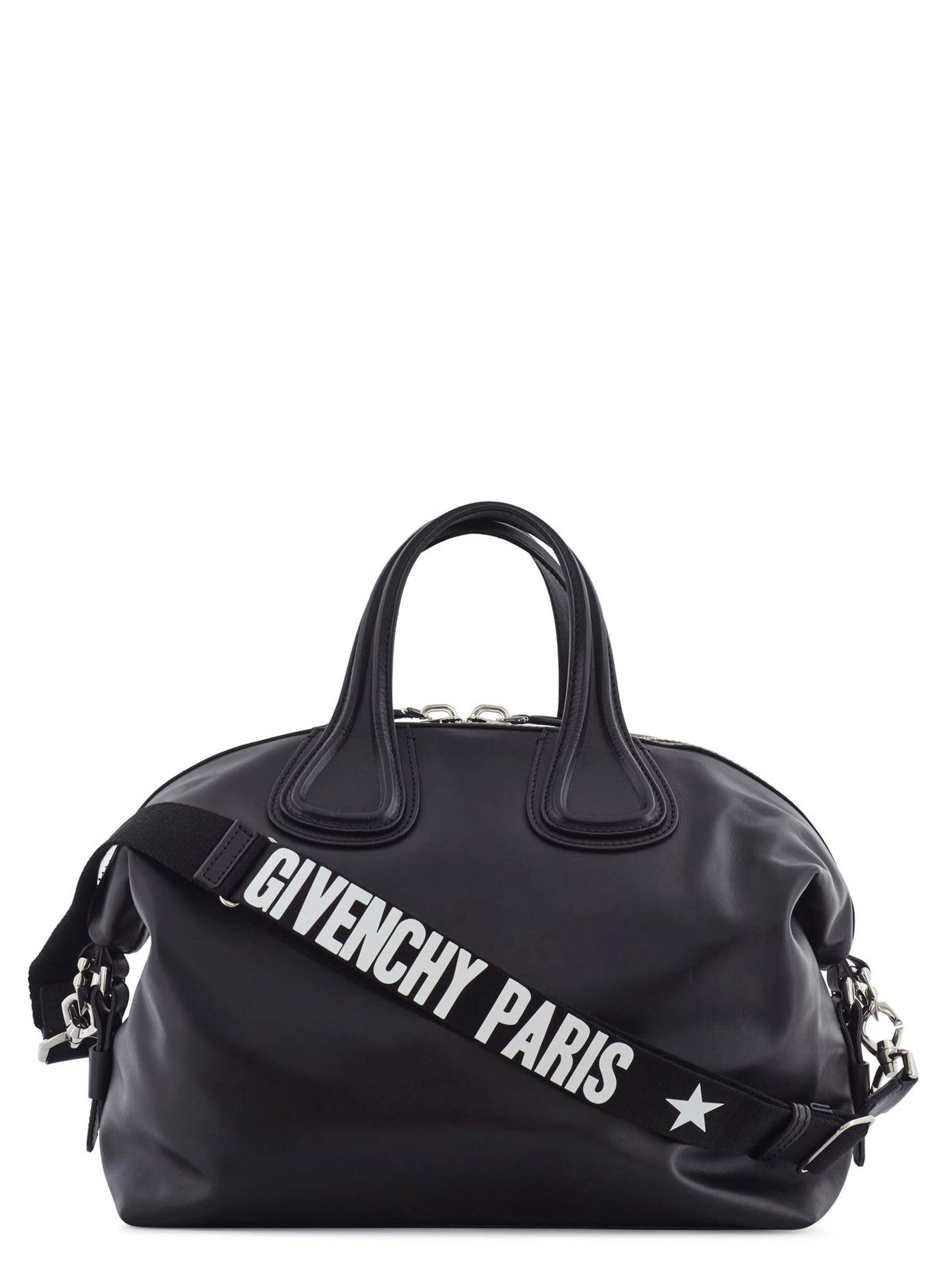 476913ead4c3 Lyst - Givenchy Nightingale Logo Strap Leather Bag in Black