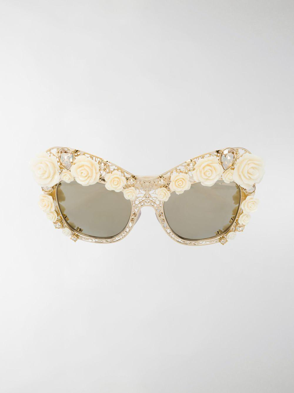 c8eaa16d96ae Lyst - Dolce   Gabbana Gold Tone Rose Lace Cat-eye Sunglasses in ...