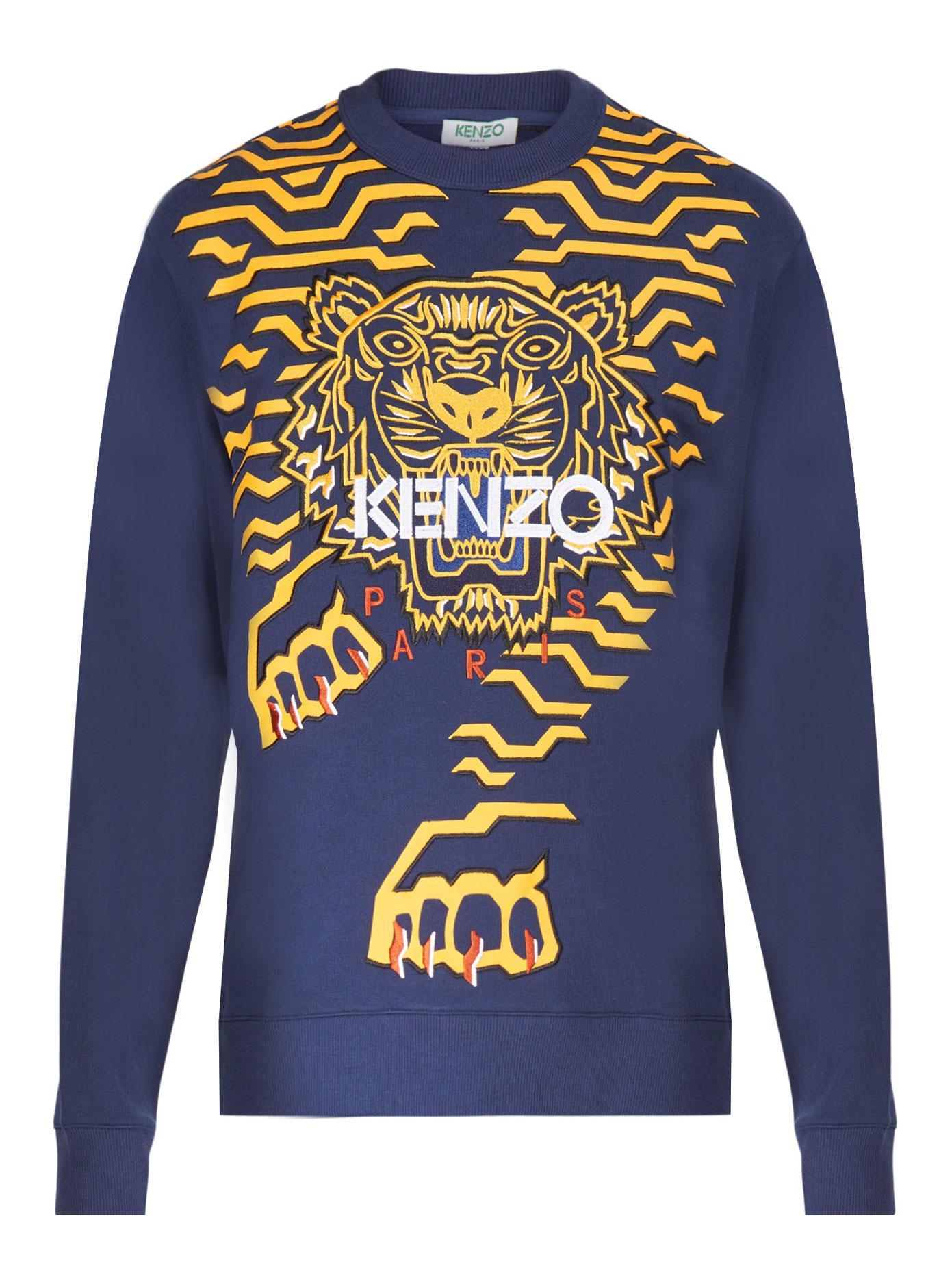 Kenzo Geo Tiger Classic Cotton Sweatshirt in Blue for Men - Lyst d02b0c591df