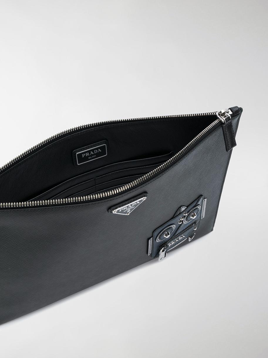 ba493cdf5bf8 Prada Robot Saffiano Clutch Bag in Black for Men - Lyst
