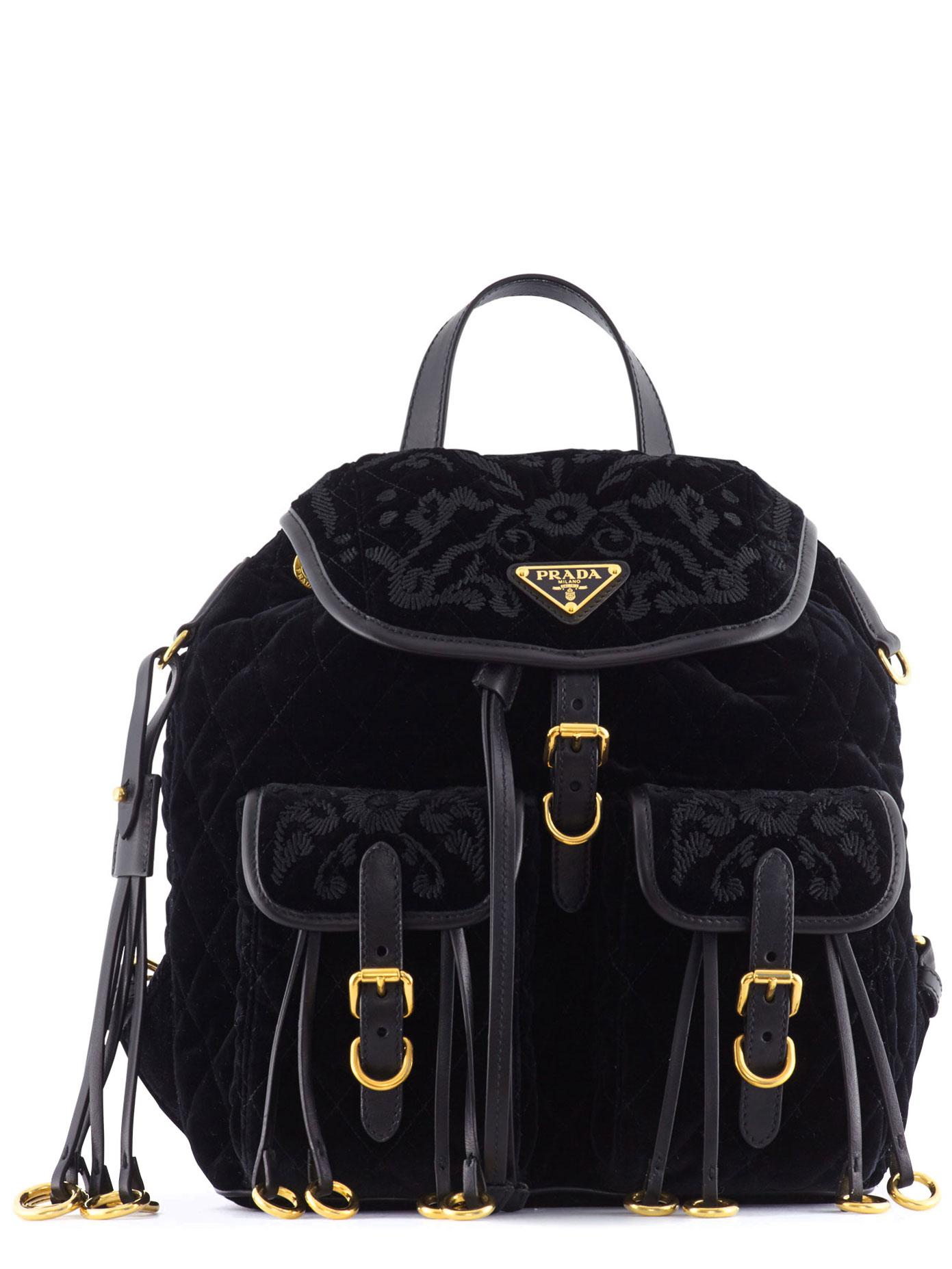 b6d5cfe9a66b Lyst - Prada Leather-trimmed Quilted-velvet Backpack in Black