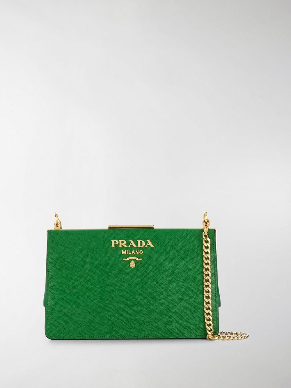 365ab3363eb054 Prada - Green Frame Crossbody Bag - Lyst. View fullscreen