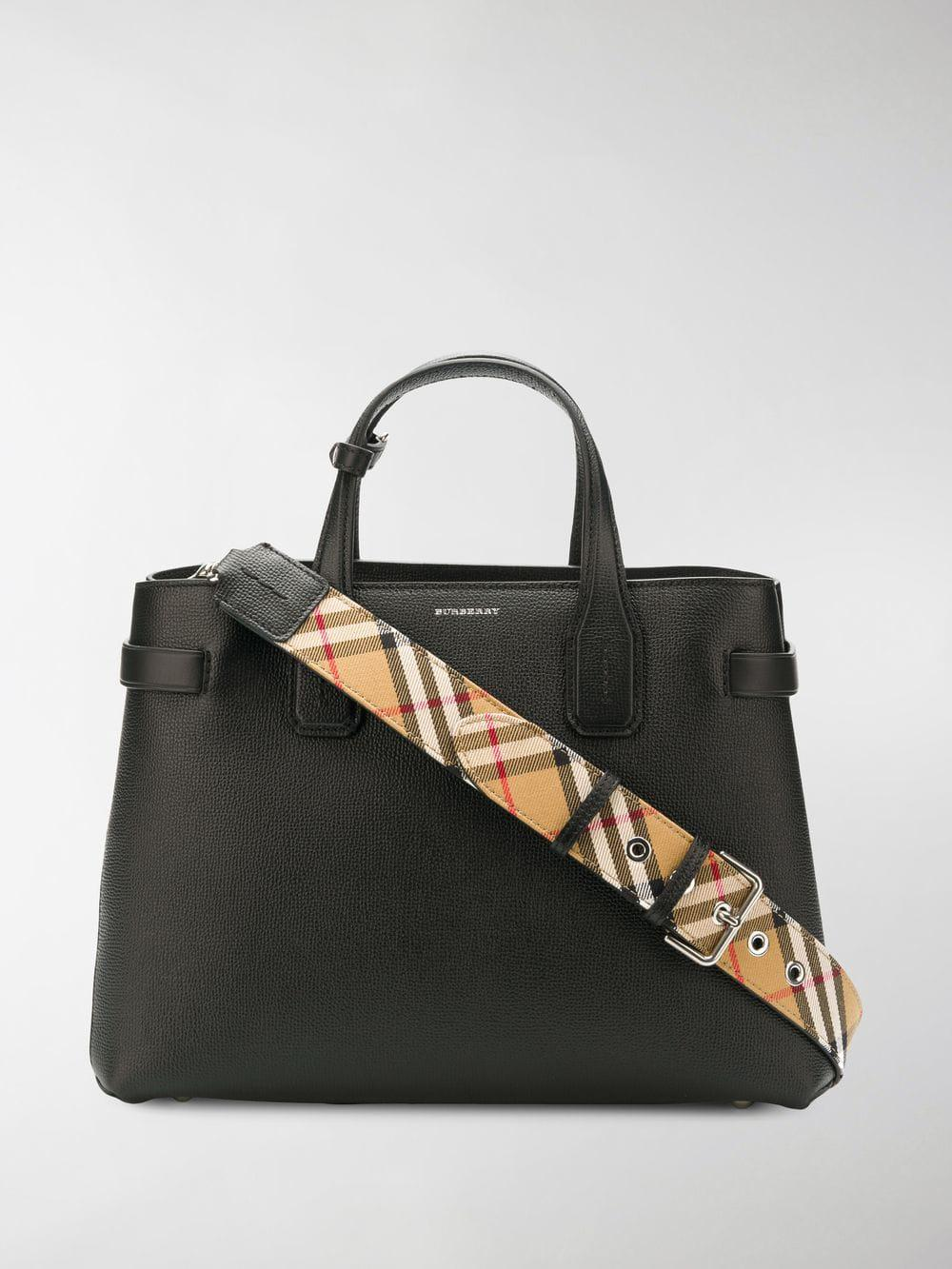 Burberry - Black The Medium Banner In Leather And Vintage Check - Lyst.  View fullscreen cea2b7d530