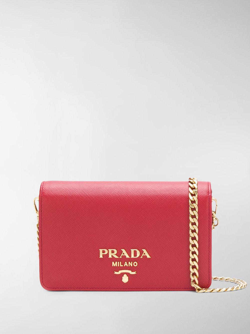 a8e9f22fbc7d Prada Saffiano Logo Shoulder Bag in Red - Save 41.01123595505618% - Lyst