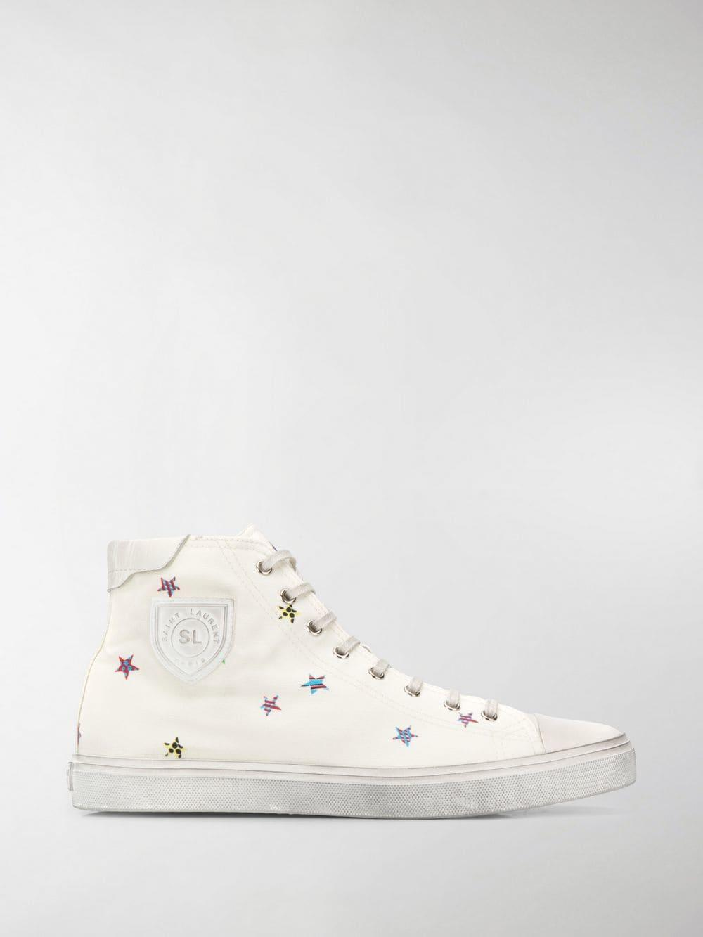 b7785750429a Lyst - Saint Laurent Bedford Star-print Sneakers in White for Men