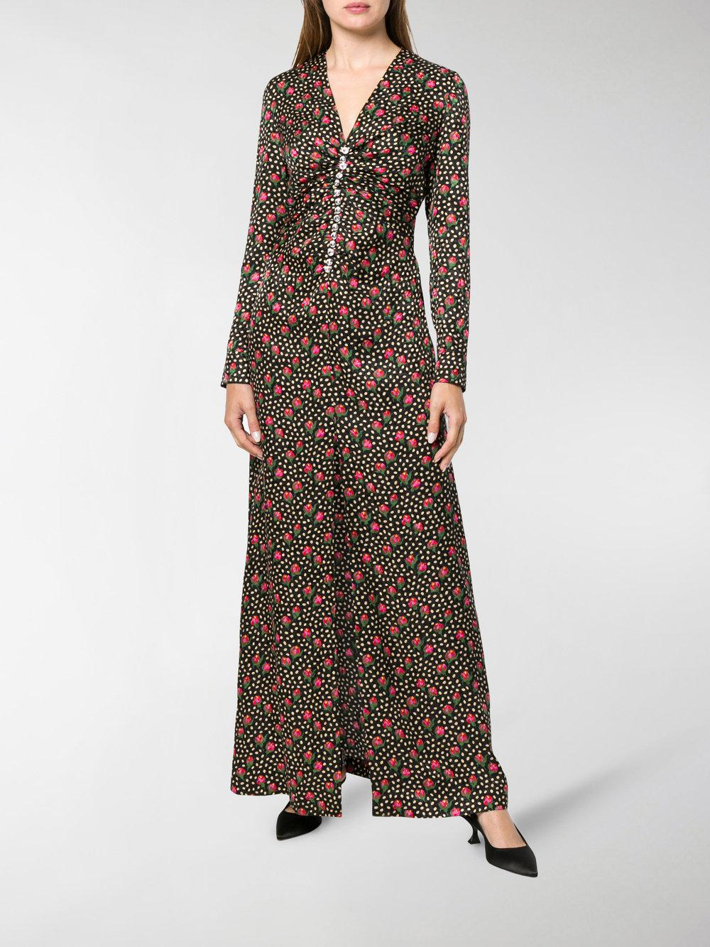 61ddf9676 Lyst - Miu Miu Button-embellished Printed Maxi Dress in Black