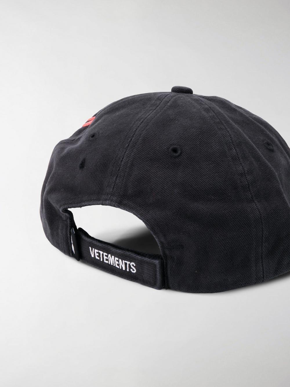 69838ab3 Vetements - Black Flame Embroidered Logo Cap for Men - Lyst. View fullscreen