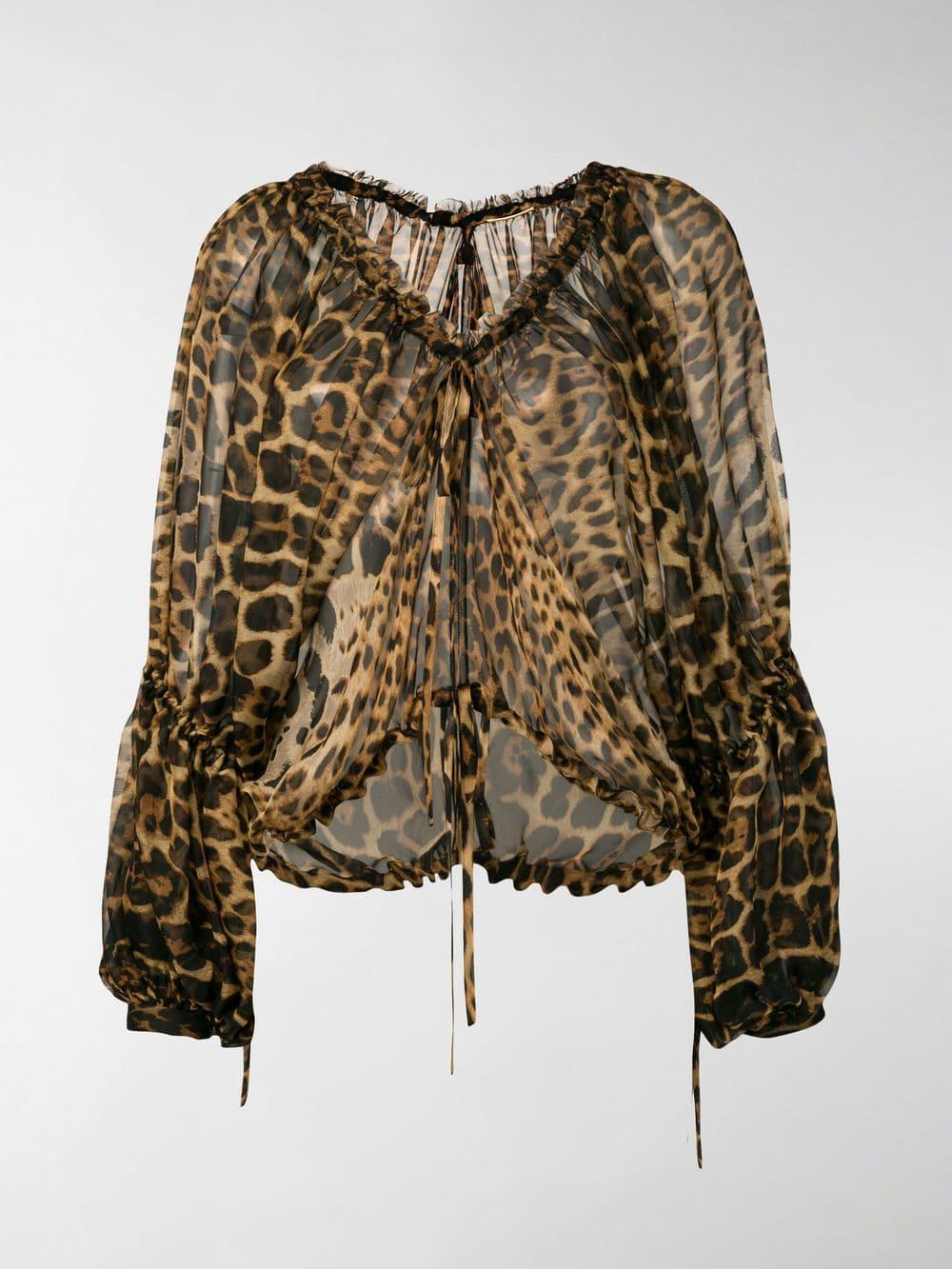 7dc691ed Lyst - Saint Laurent Sheer Leopard Print Blouse in Brown