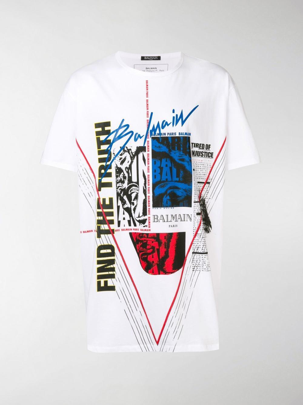 ba4317db Balmain - White Logo-print T-shirt for Men - Lyst. View fullscreen