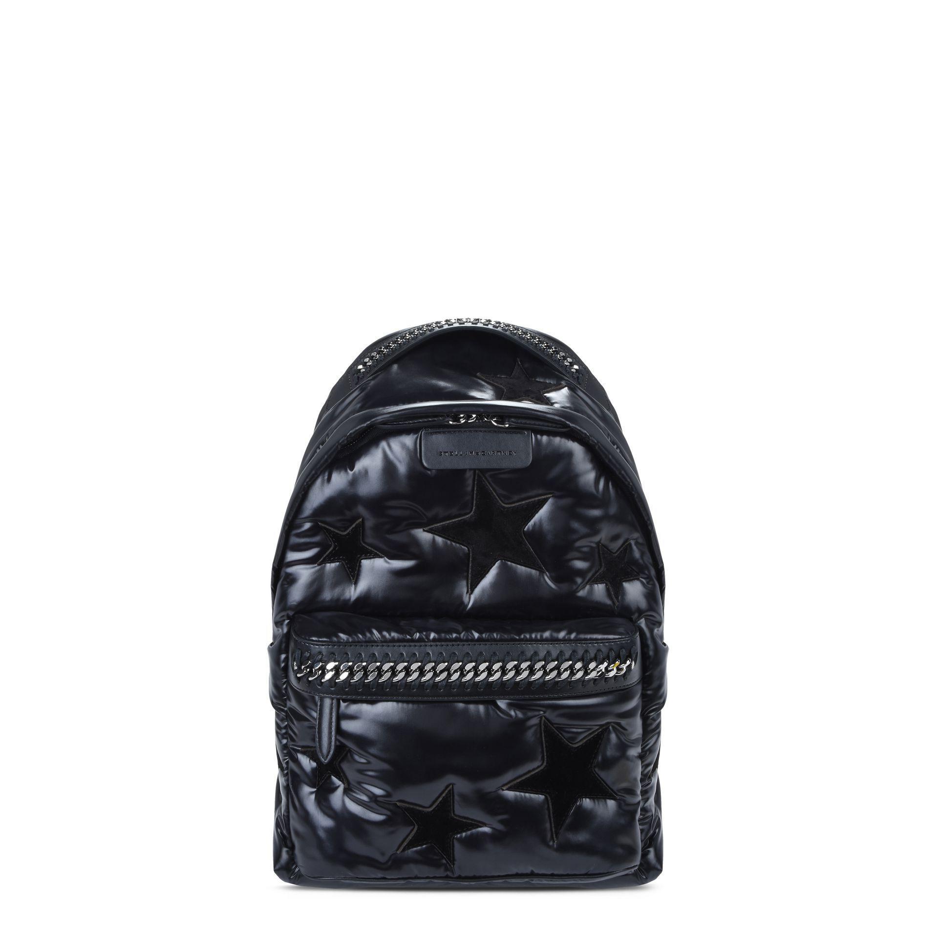 ee1098399b18 Stella Mccartney Black Stars Falabella Go Backpack in Black - Lyst
