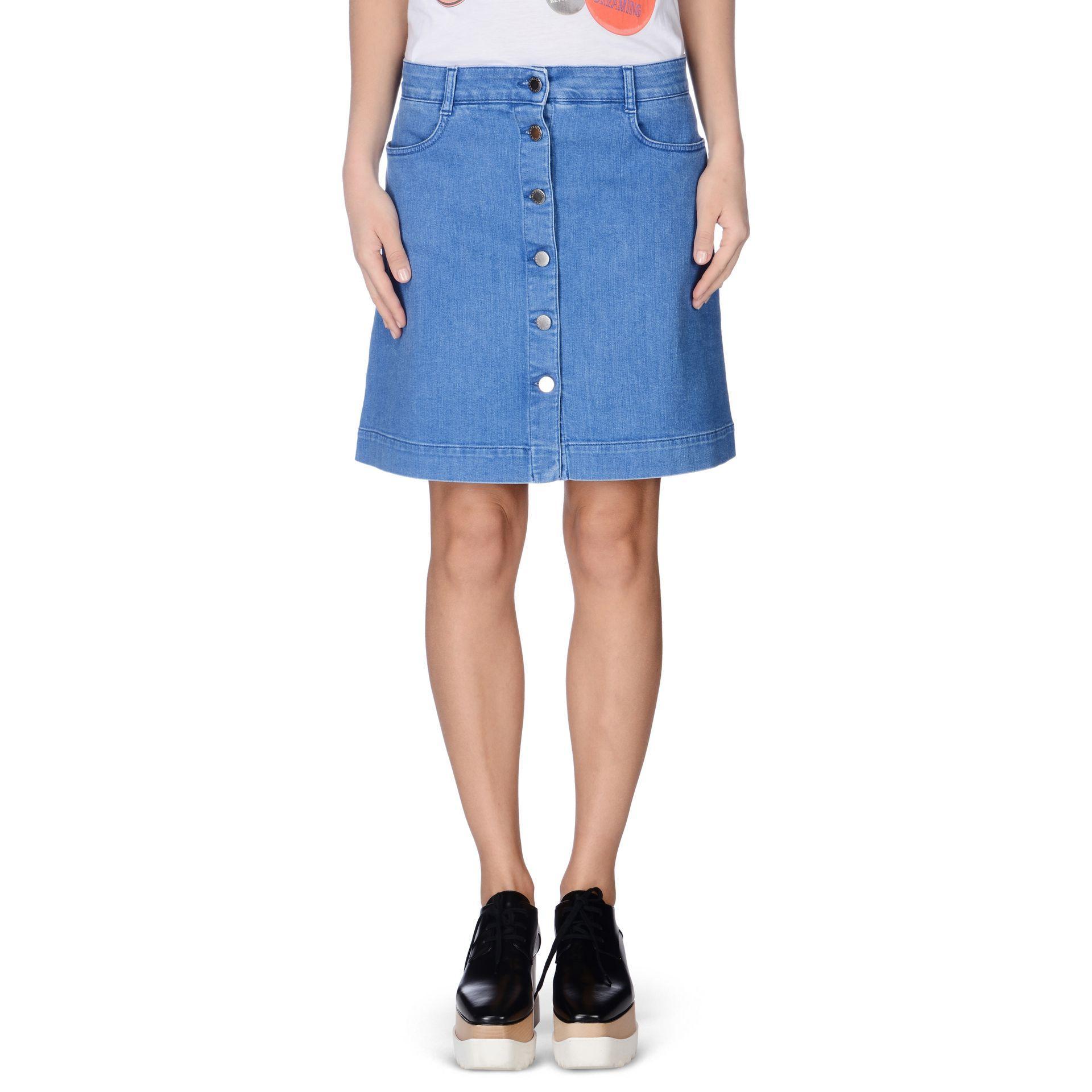 stella mccartney supreme blue denim skirt in blue lyst