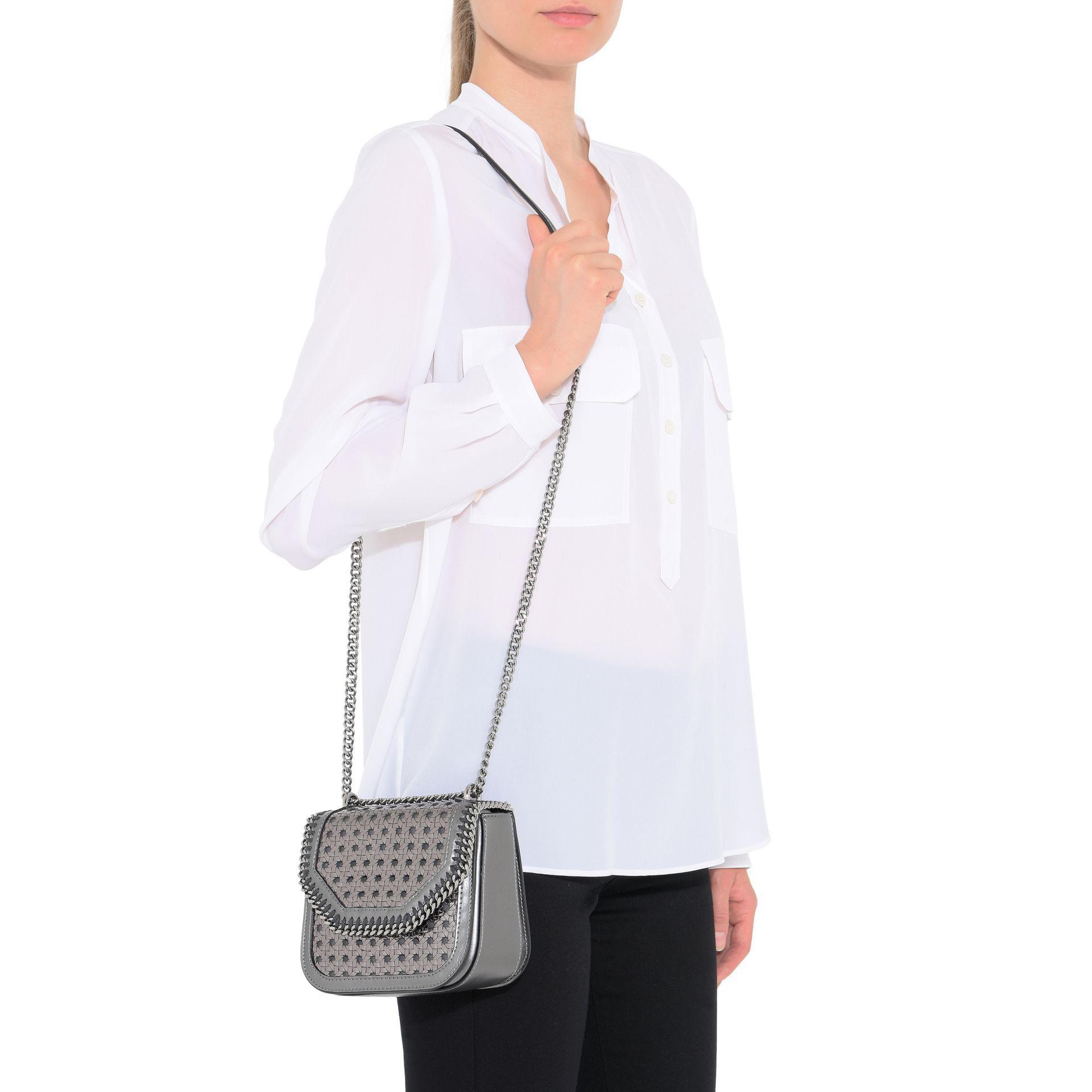 4363af96b3e4 Lyst - Stella McCartney Metallic Falabella Box Wicker Mini Shoulder Bag