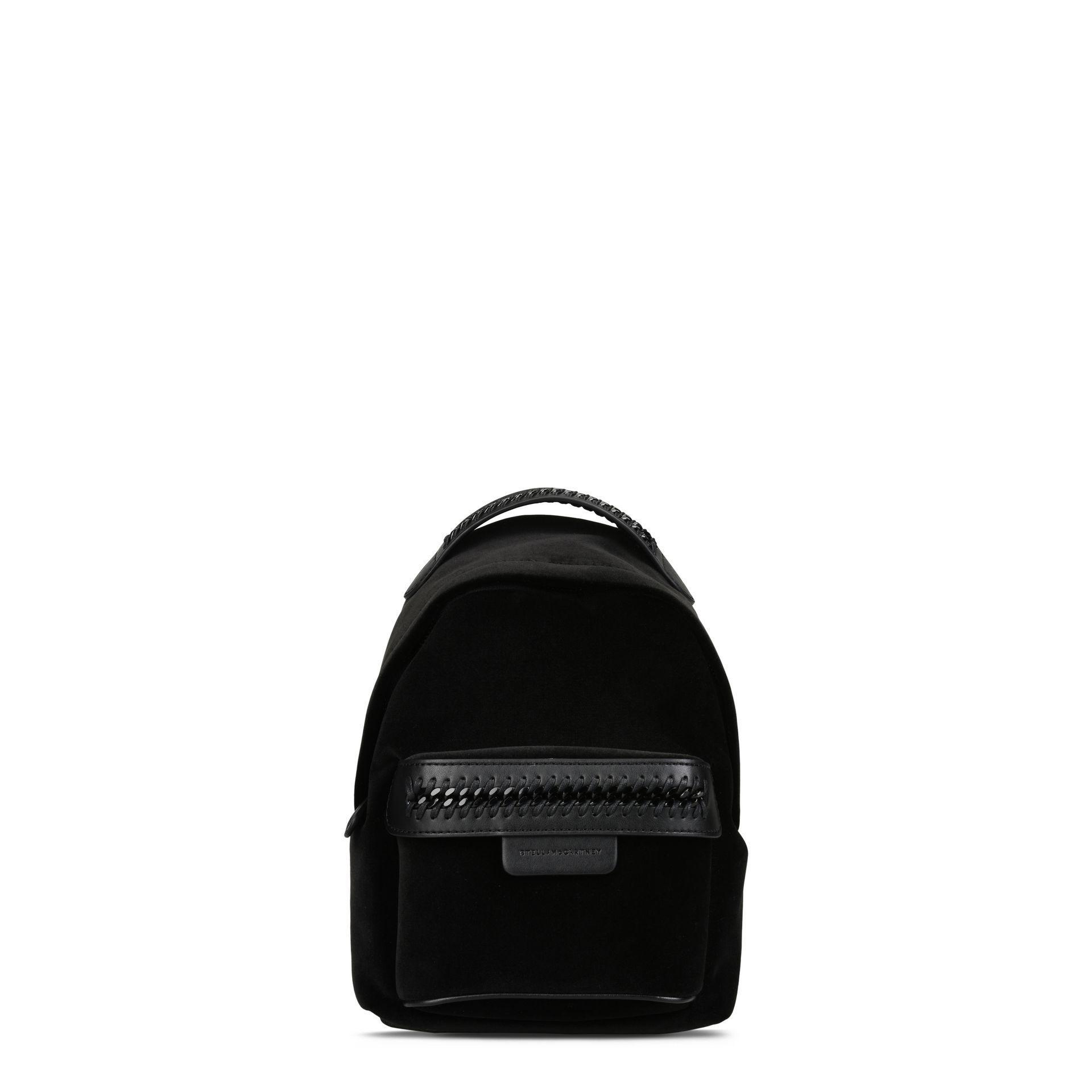 db539126c7a6c Stella McCartney Black Velvet Falabella Go Mini Backpack in Black - Lyst