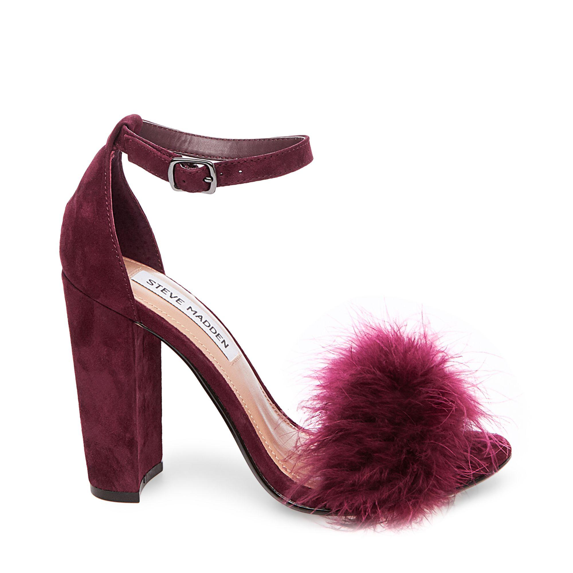 2b1b5004ccd Lyst - Steve Madden Carabu Feather Suede Block Heel Dress Sandals in ...