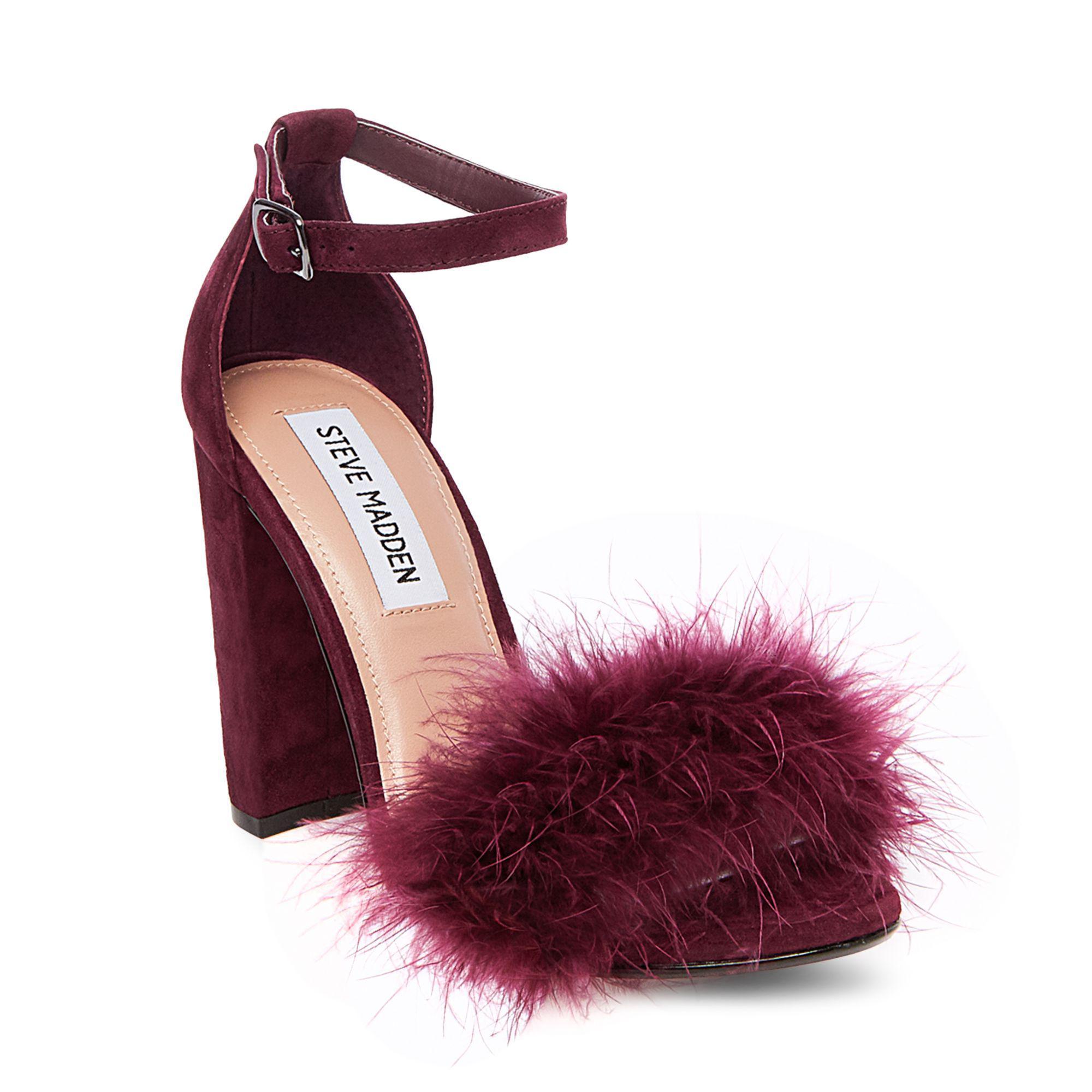 7ecef9e6f57 Lyst - Steve Madden Carabu Feather Suede Block Heel Dress Sandals in ...