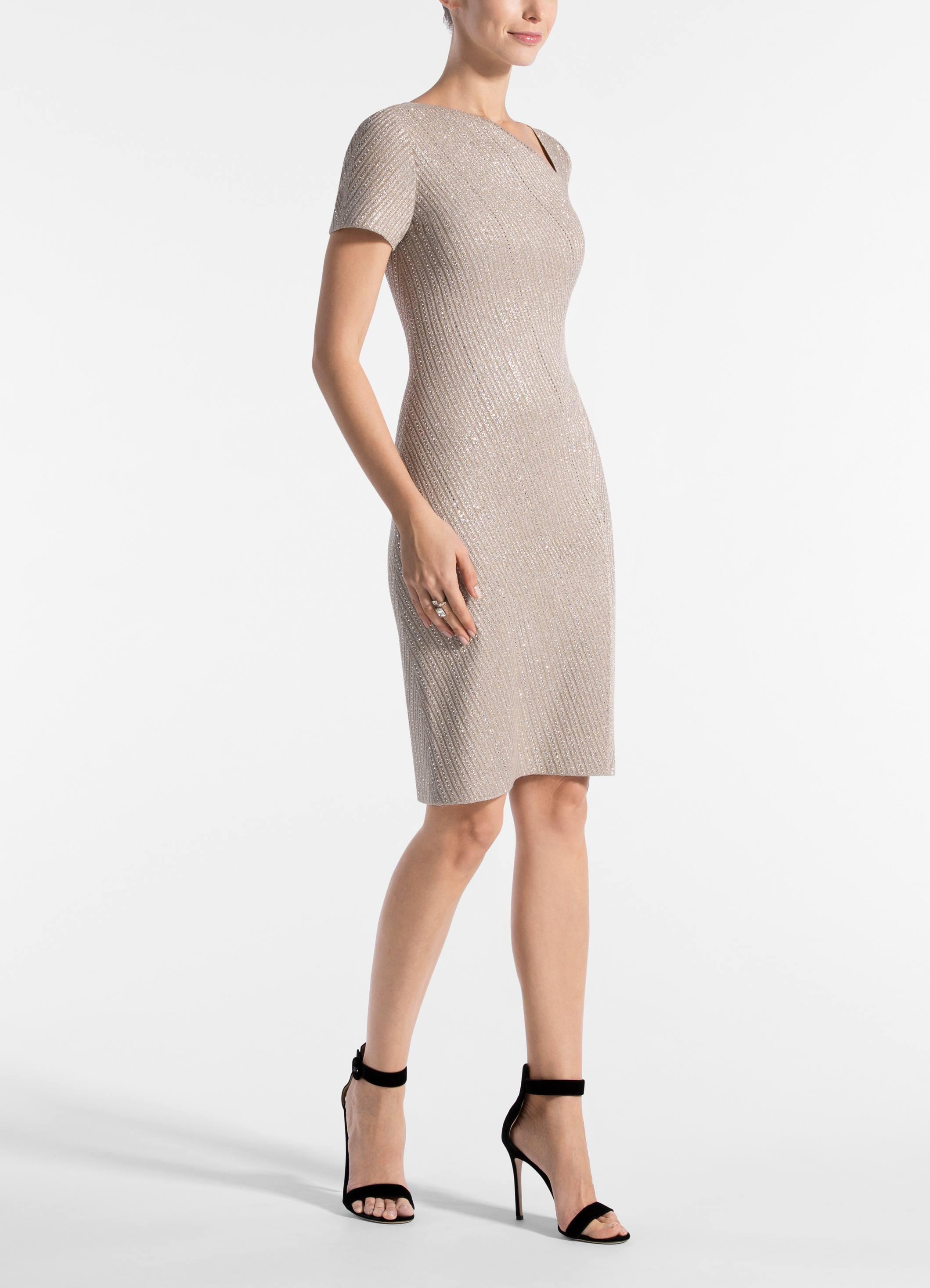 2819c625849c St. John - Natural Brielle Knit Asymmetrical Neck Dress - Lyst. View  fullscreen