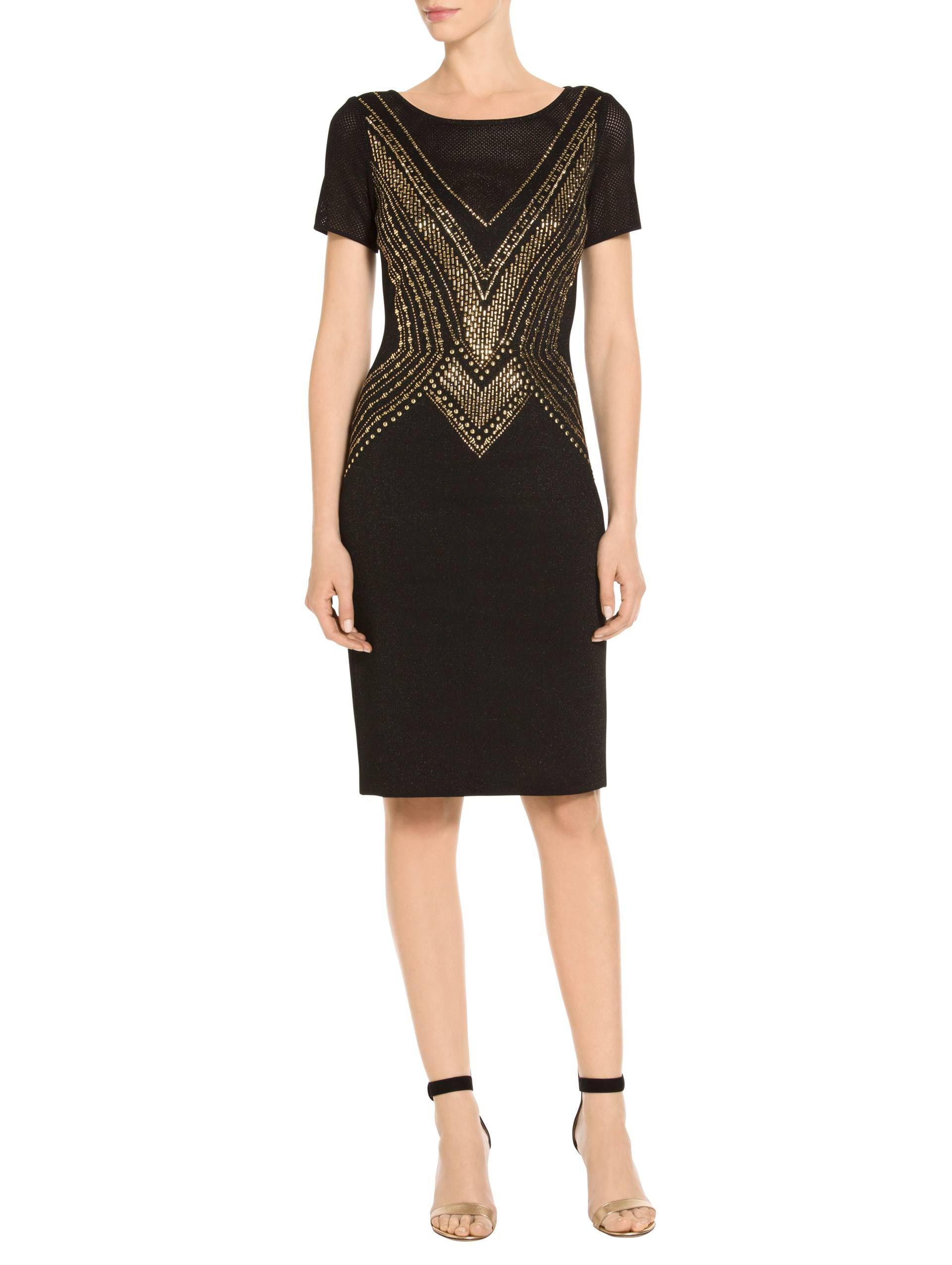 c36d7ac7cf59 Lyst - St. John Layered Pointelle Jacquard Knit Dress in Black ...