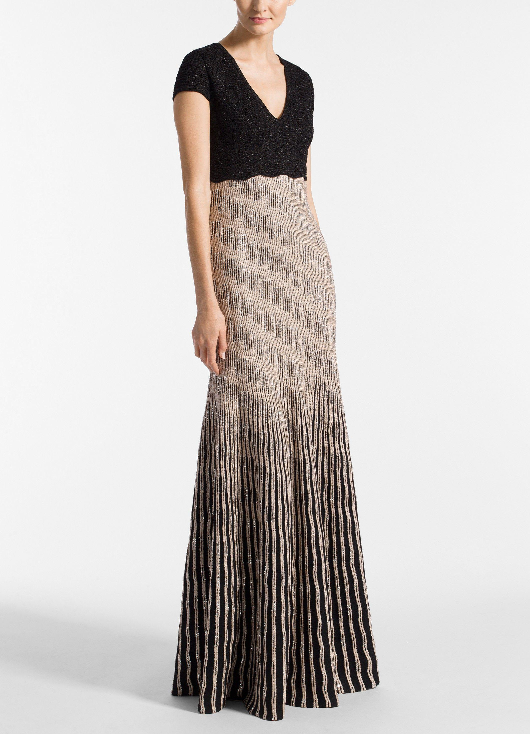 44aa7bcc6e38 St. John - Multicolor Inlay Sequin Trellis Knit V-neck Fit & Flare Gown.  View fullscreen