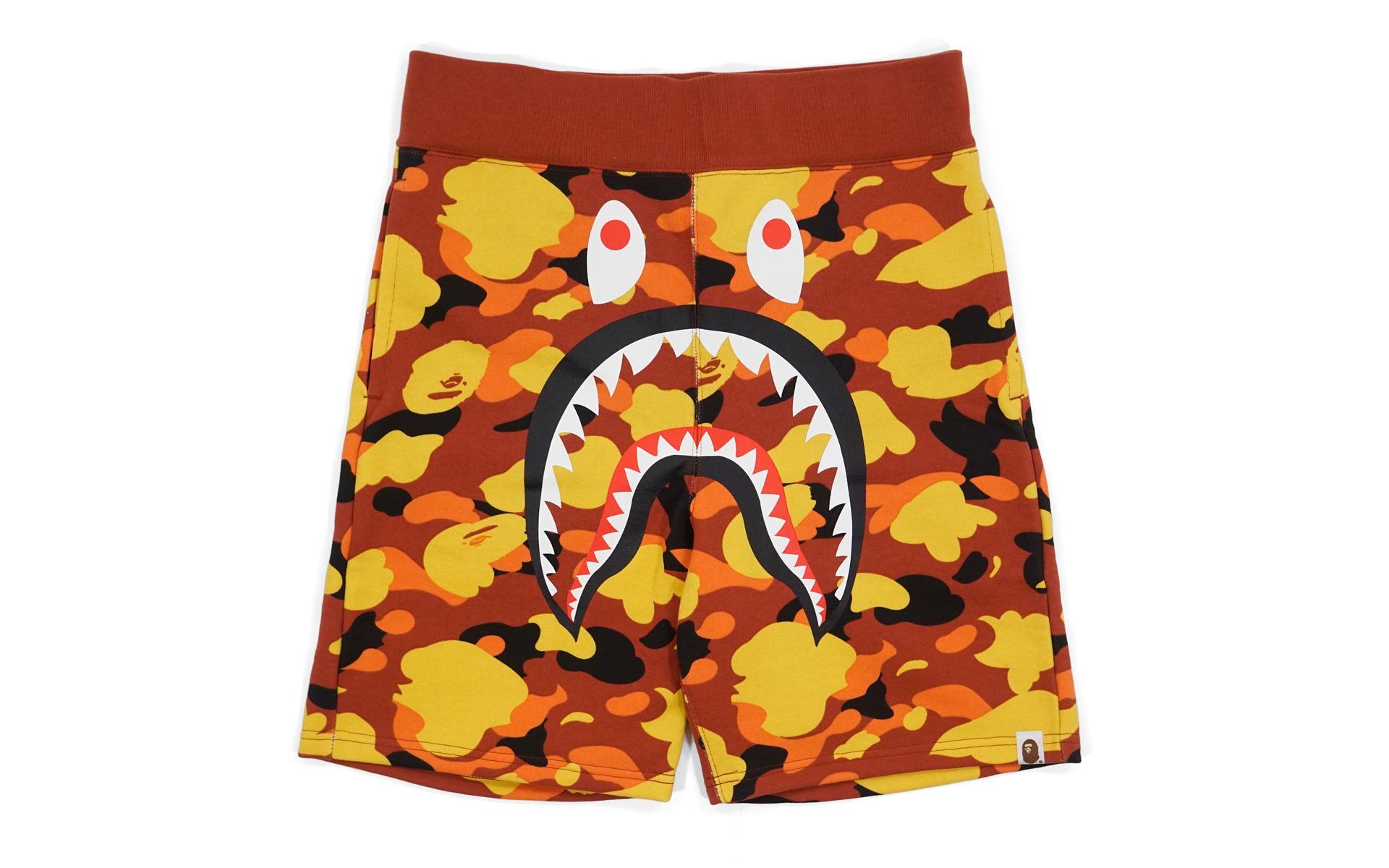 a9a52412 A Bathing Ape Ultimate 1st Camo Shark Sweatshorts Orange in Orange ...