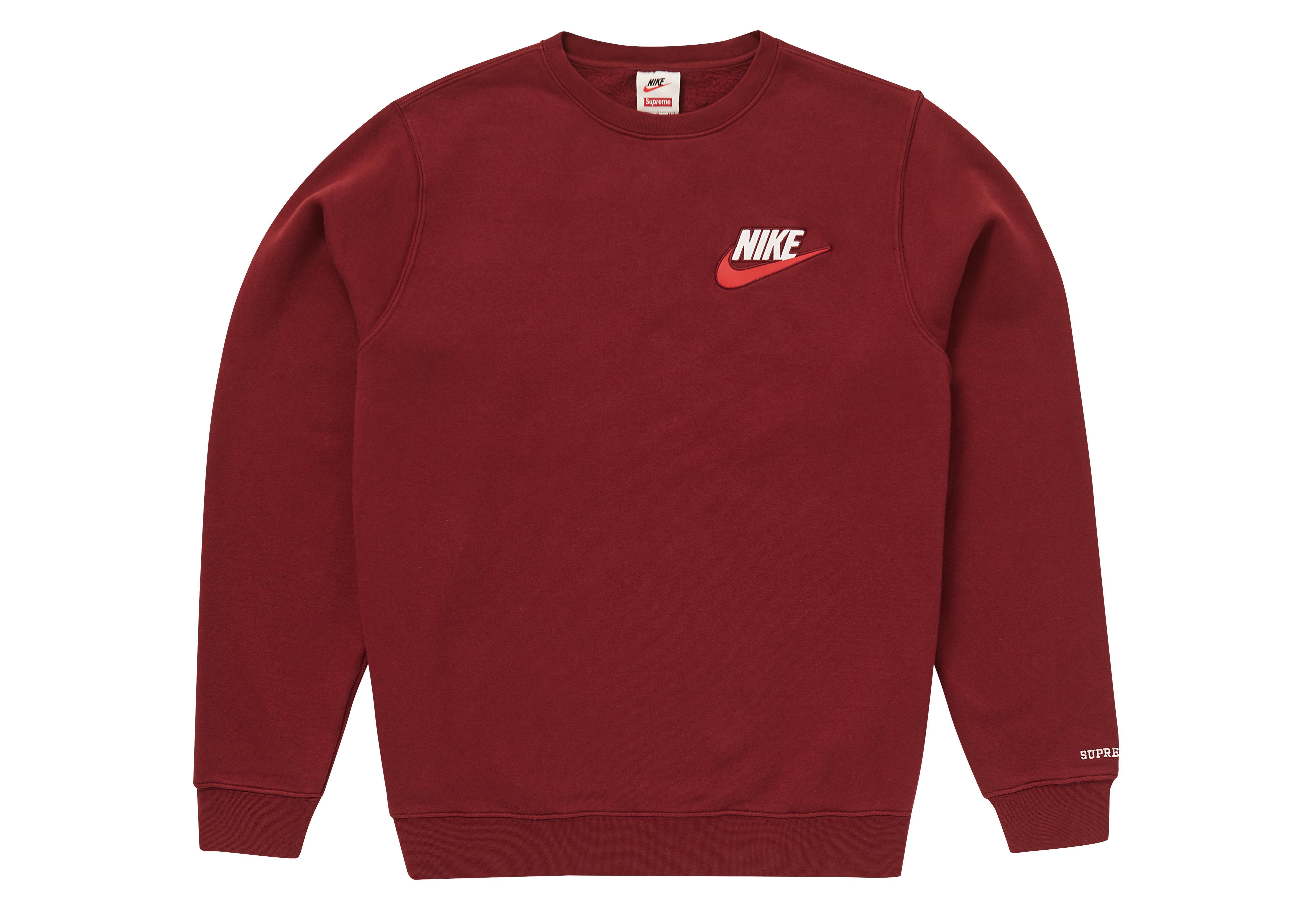48190135 Supreme Red Nike Crewneck Burgundy for men. View fullscreen