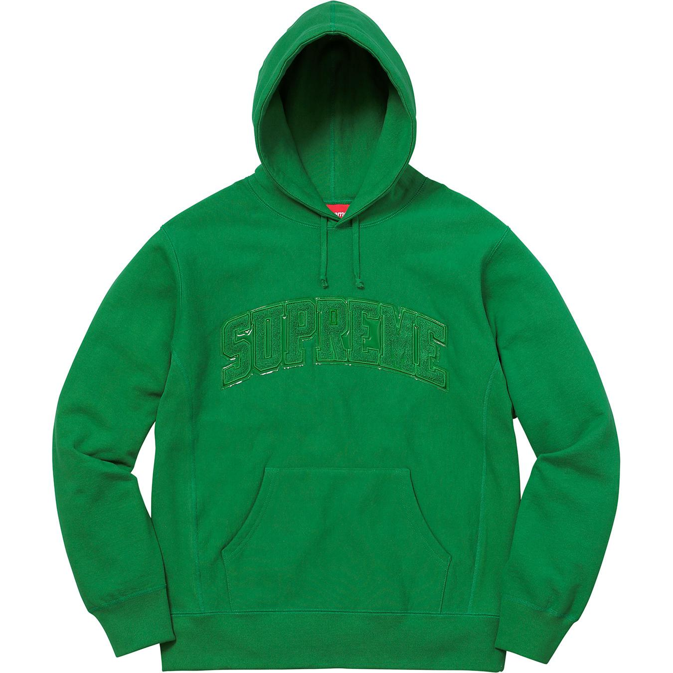 34d4c656 Tap to visit site. Supreme Patent/chenille Arc Logo Hooded Sweatshirt Kelly  Green ...