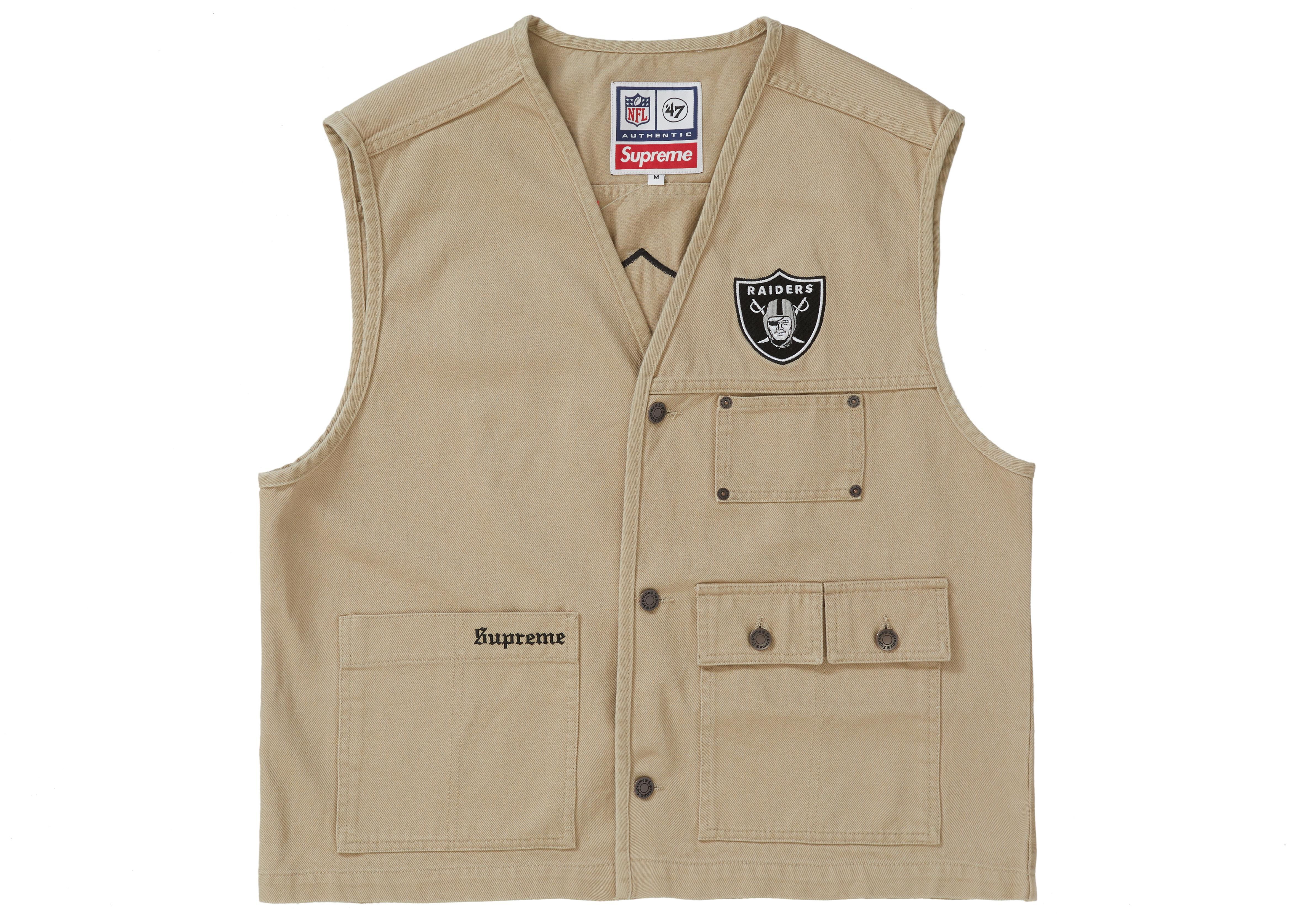 5caa31dc Lyst - Supreme Nfl X Raiders X '47 Denim Vest Khaki in Natural for Men