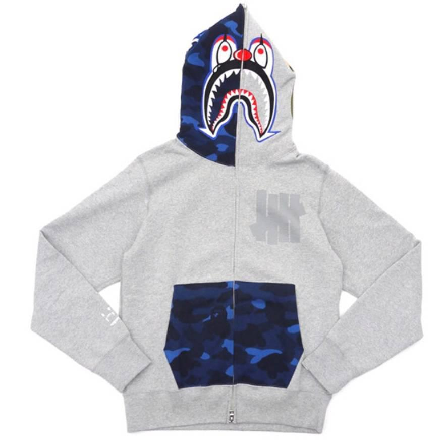 e8ea2126 A Bathing Ape. Men's Gray X Undefeated Mr Cartoon Color Camo Hood/pocket  Full Zip Clown Shark Hoodie Grey/blue
