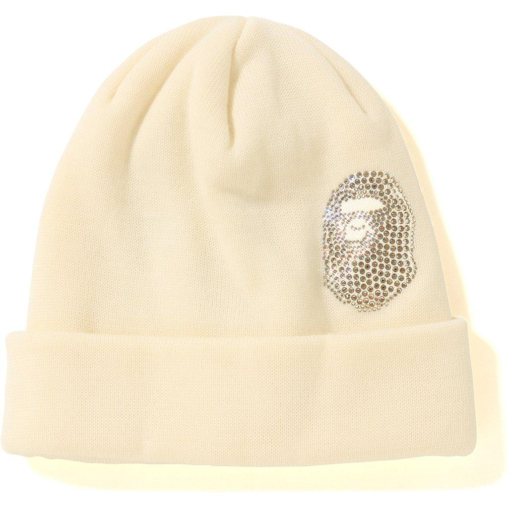 583bbb8ad1a Lyst - A Bathing Ape Ape Head Swarovski Knit Cap White in White for Men
