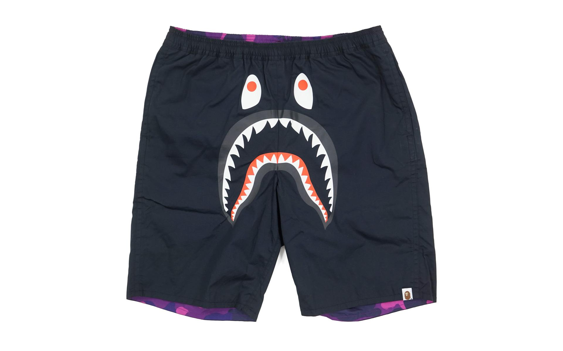 Lyst - A Bathing Ape Reversible Color Camo Shark Shorts Black purple ... 05aa5a001b