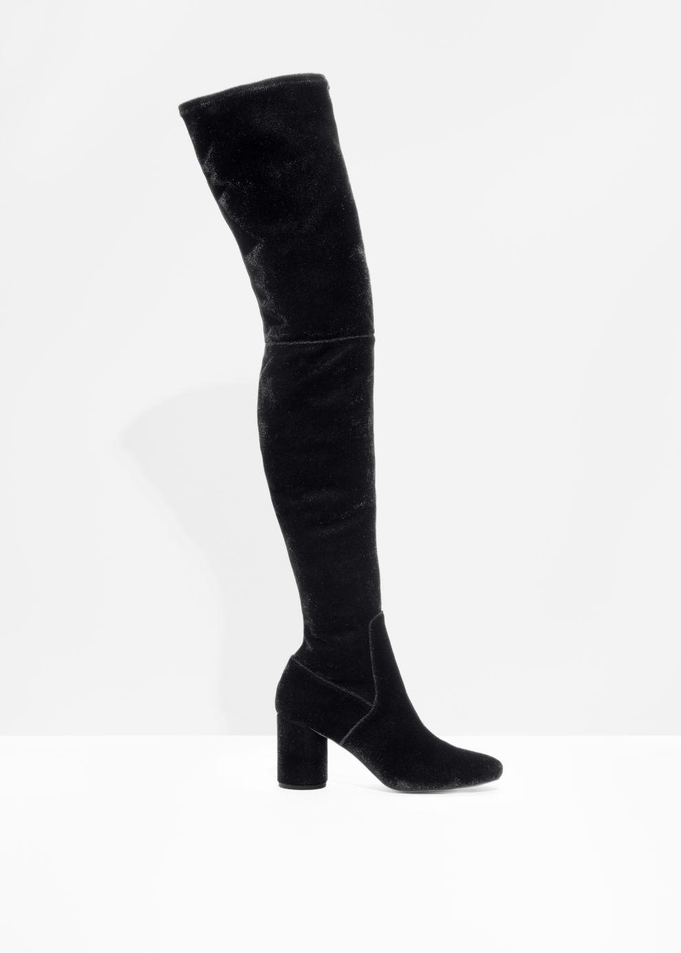 bc6fcd8b43d Lyst -   Other Stories Velvet Over The Knee Boots in Black