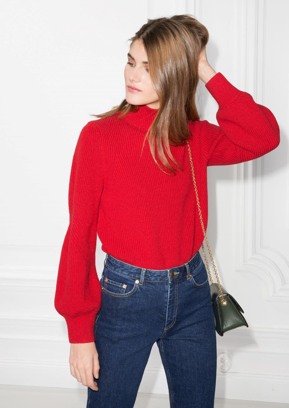 & other stories Puffy Sleeve Sweater in Red | Lyst