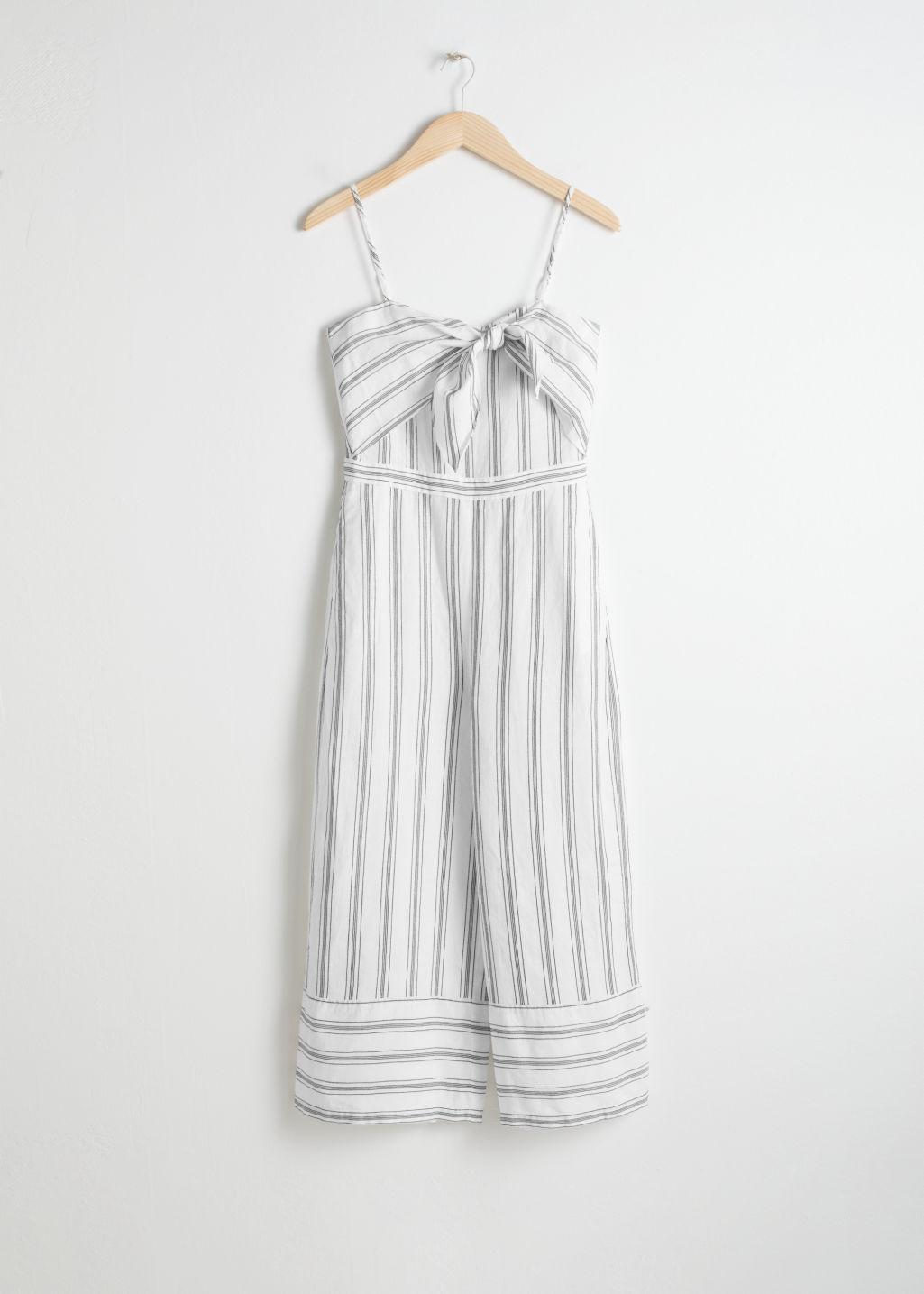 cbf1188acab   Other Stories Linen Blend Tie Up Jumpsuit in White - Lyst