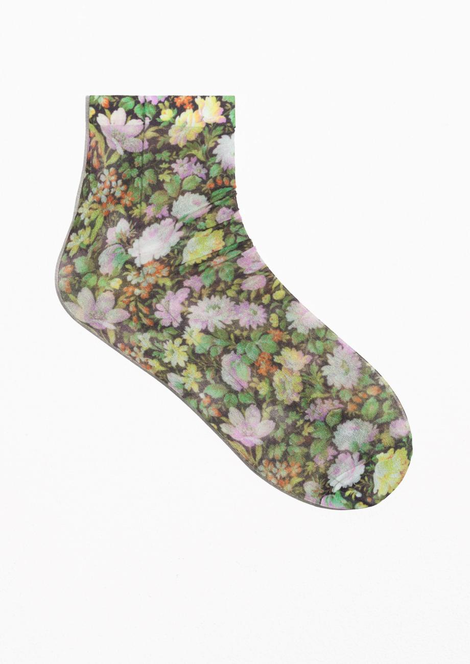 a580e8f754476 Lyst - & Other Stories Flower Print Nylon Socks in Green